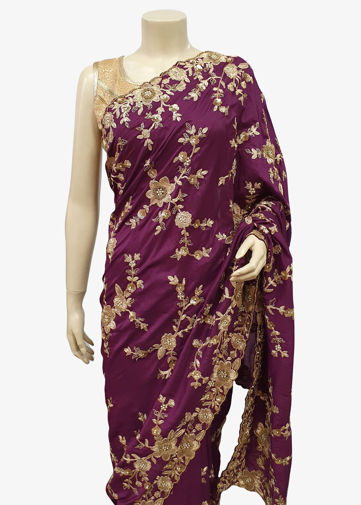 Purple Soft Silk All over Embroidered Saree