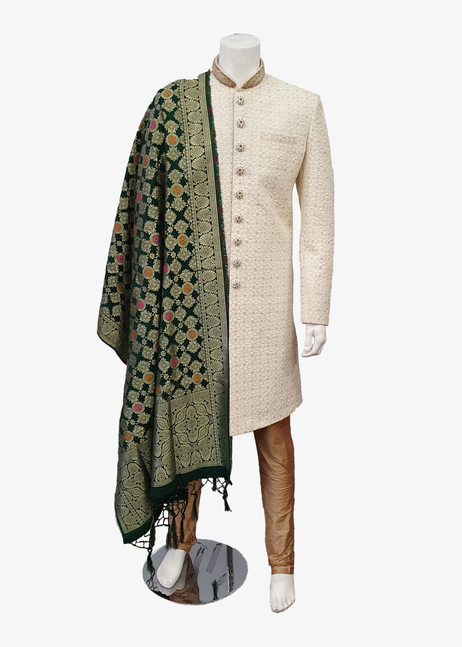 Green Mens Banarsi Silk Gold Brocade Shawl