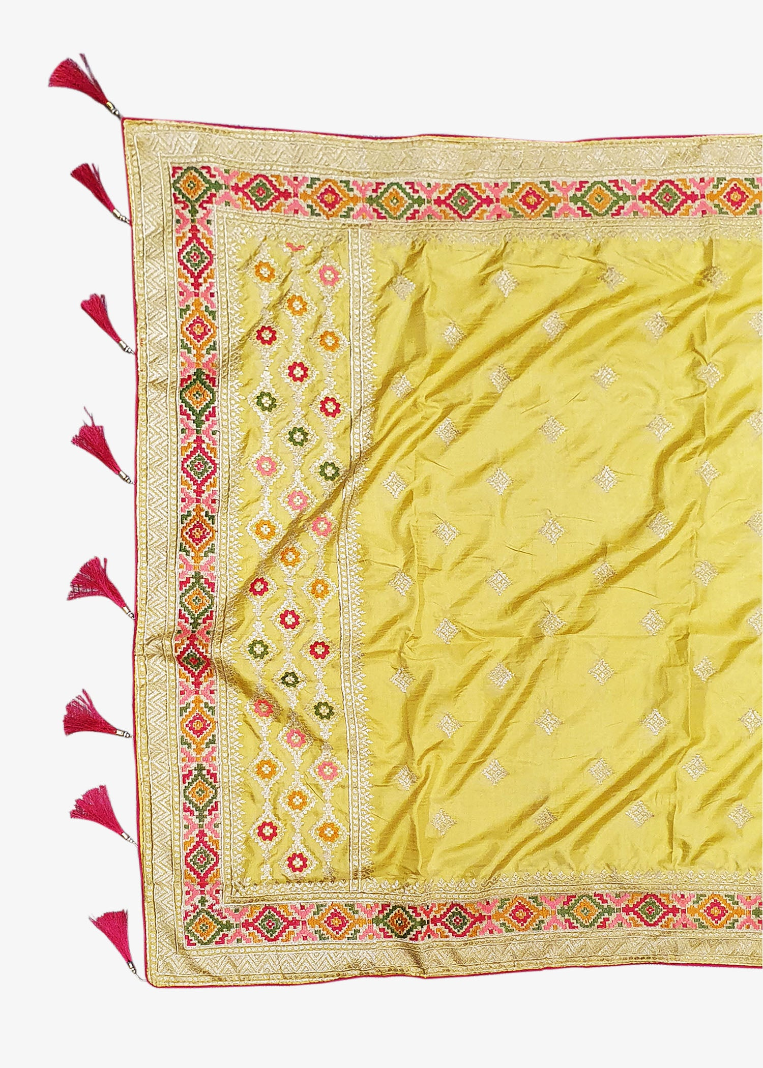 Yellow Shaded Art Silk Saree With Resham Zari Embroidery