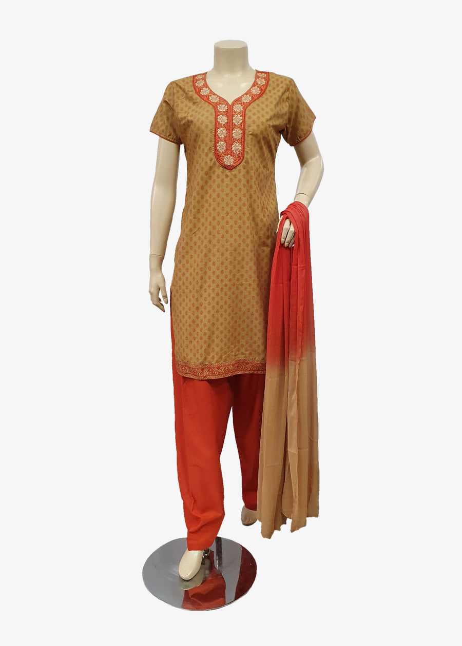 Rust-Beige 4 Piece Salwar Suit