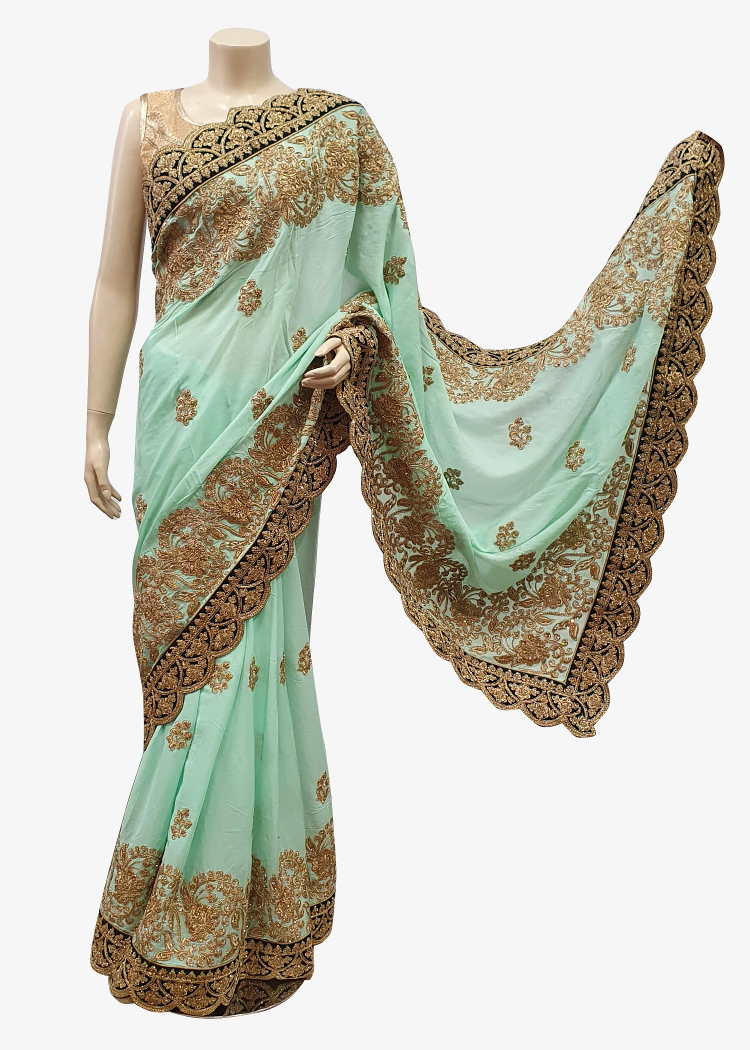 Sea Green Silk Heavy Embroidered Velvet Border Saree