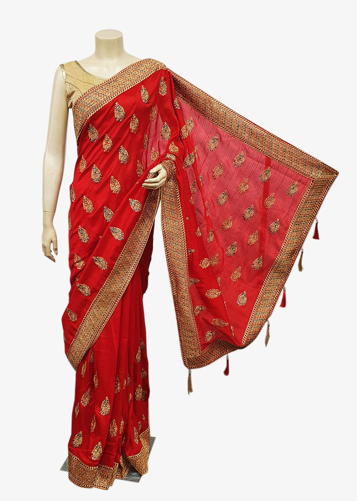 Red Art Silk Saree With Gold Resham Work All Over