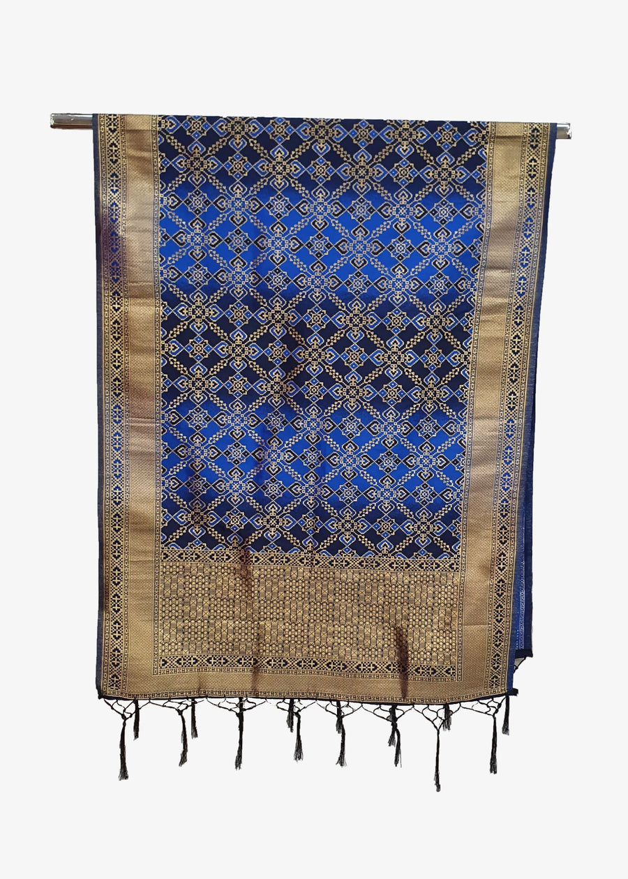 Blue Mens Banarsi Silk Gold Brocade Shawl