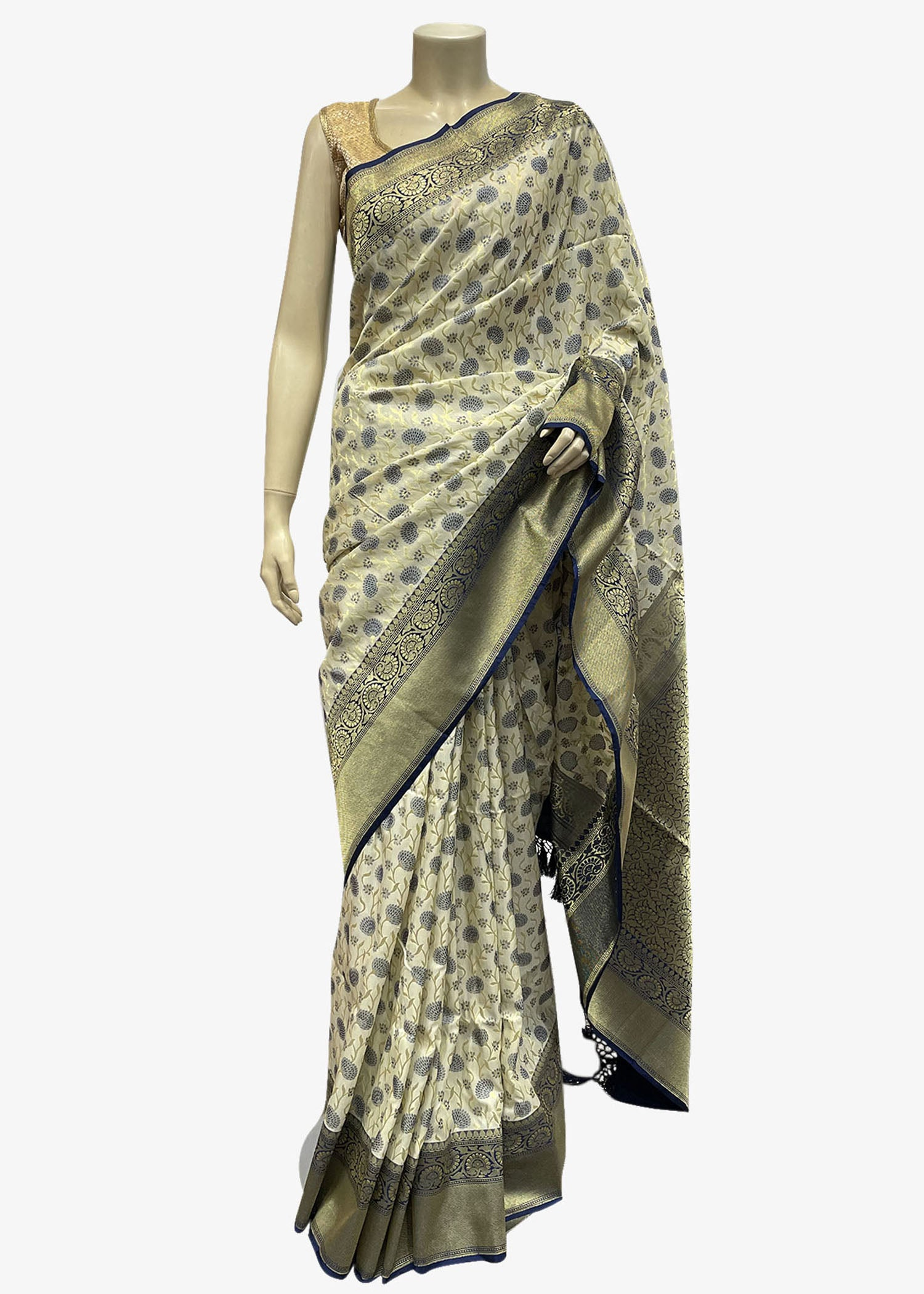 Light Cream Banarasi Saree In Silk With Weaved Floral Jaal Work.