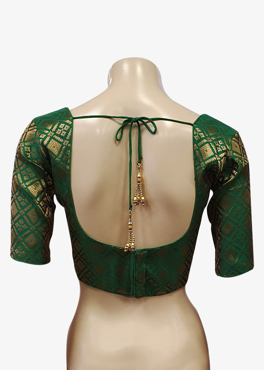 Green Brocade Silk Saree Blouse