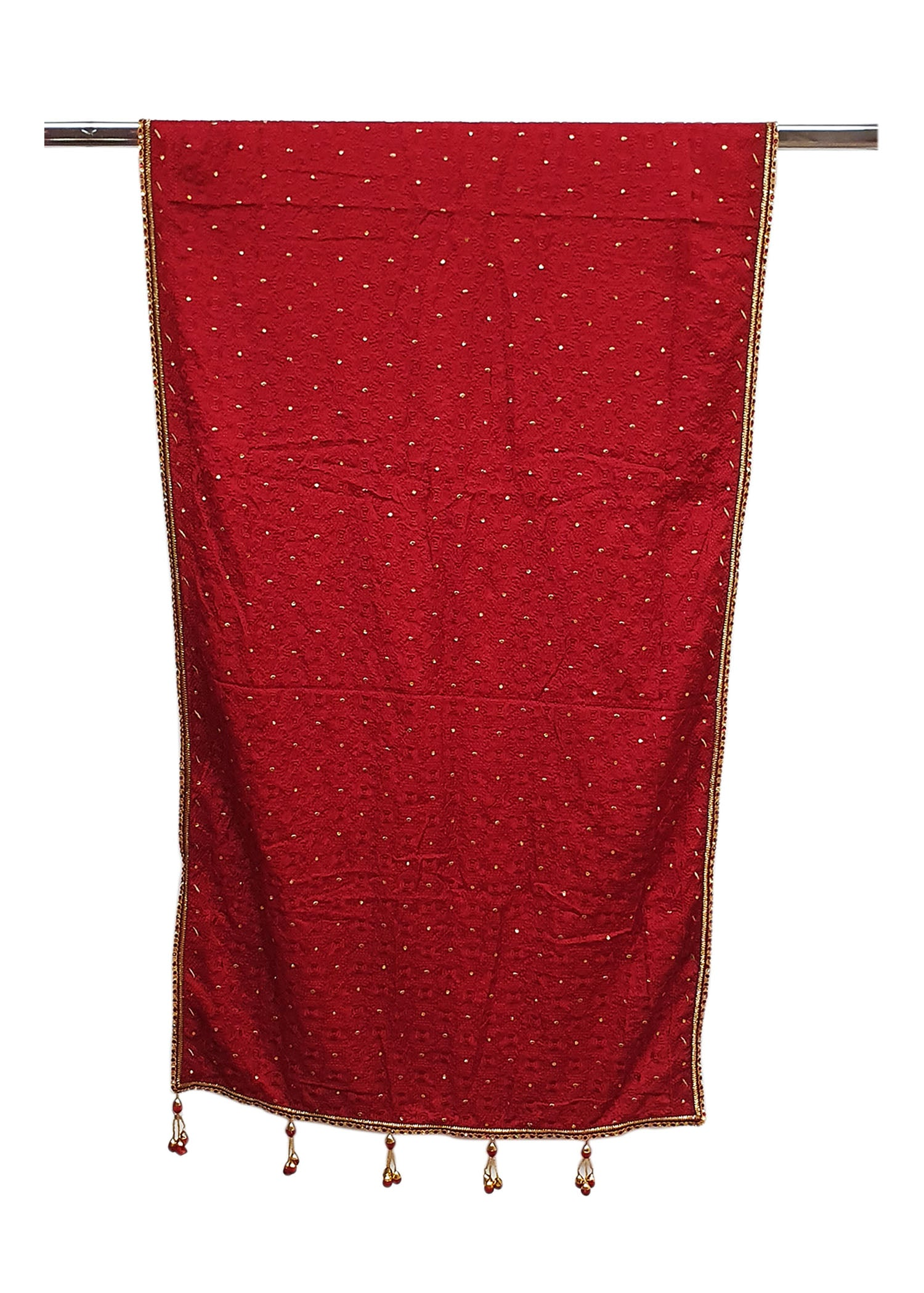 Maroon Mens Silk Shawl With Four Side Border With All Over Work