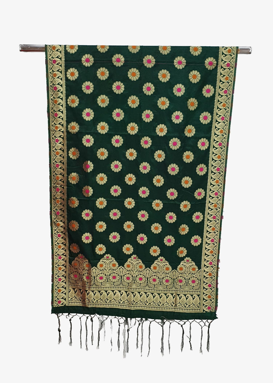 Green Mens Flower Print Banarsi Silk Brocade Shawl