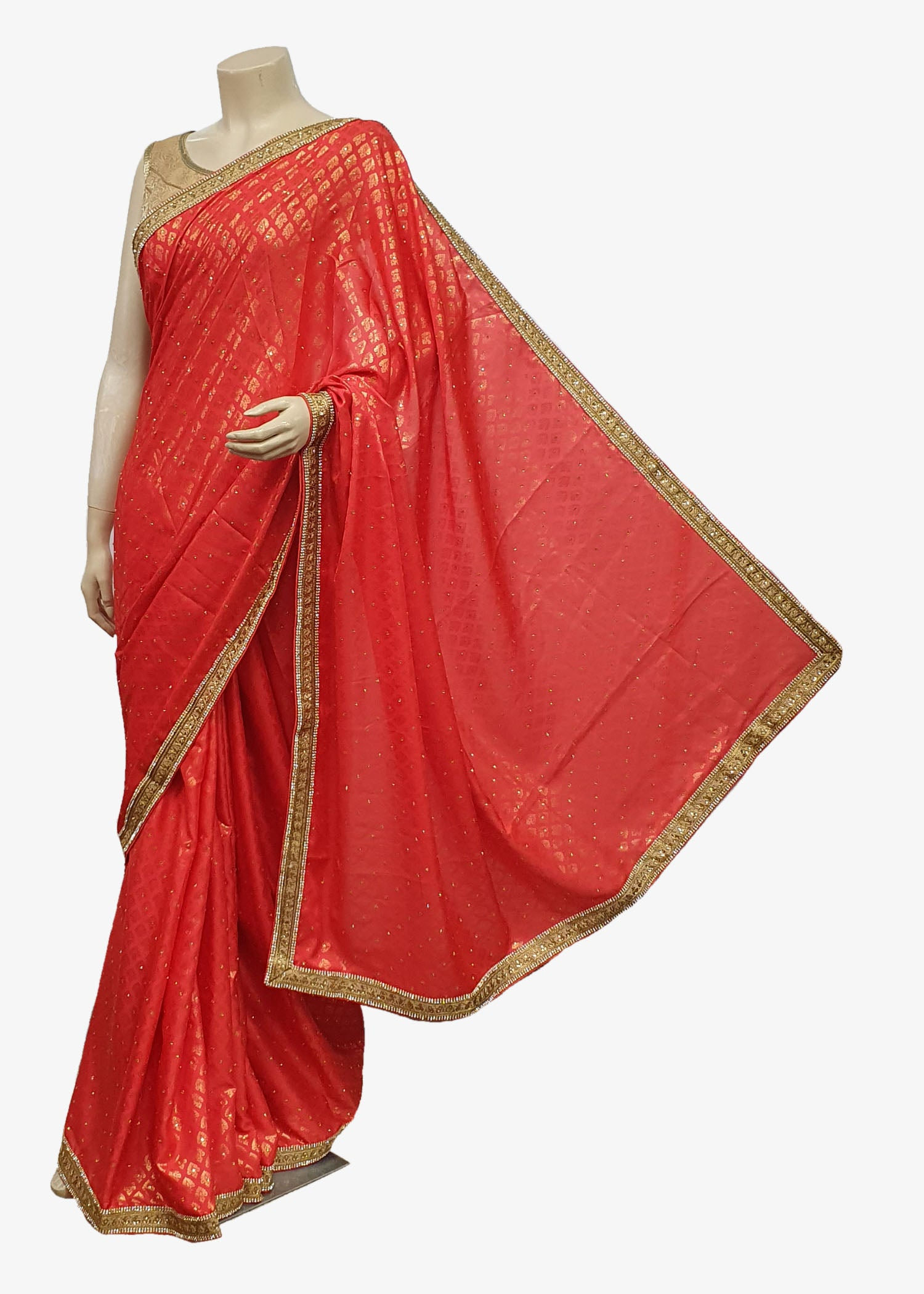 Red Banarsi Brocade Saree With Antique Embroidered Border