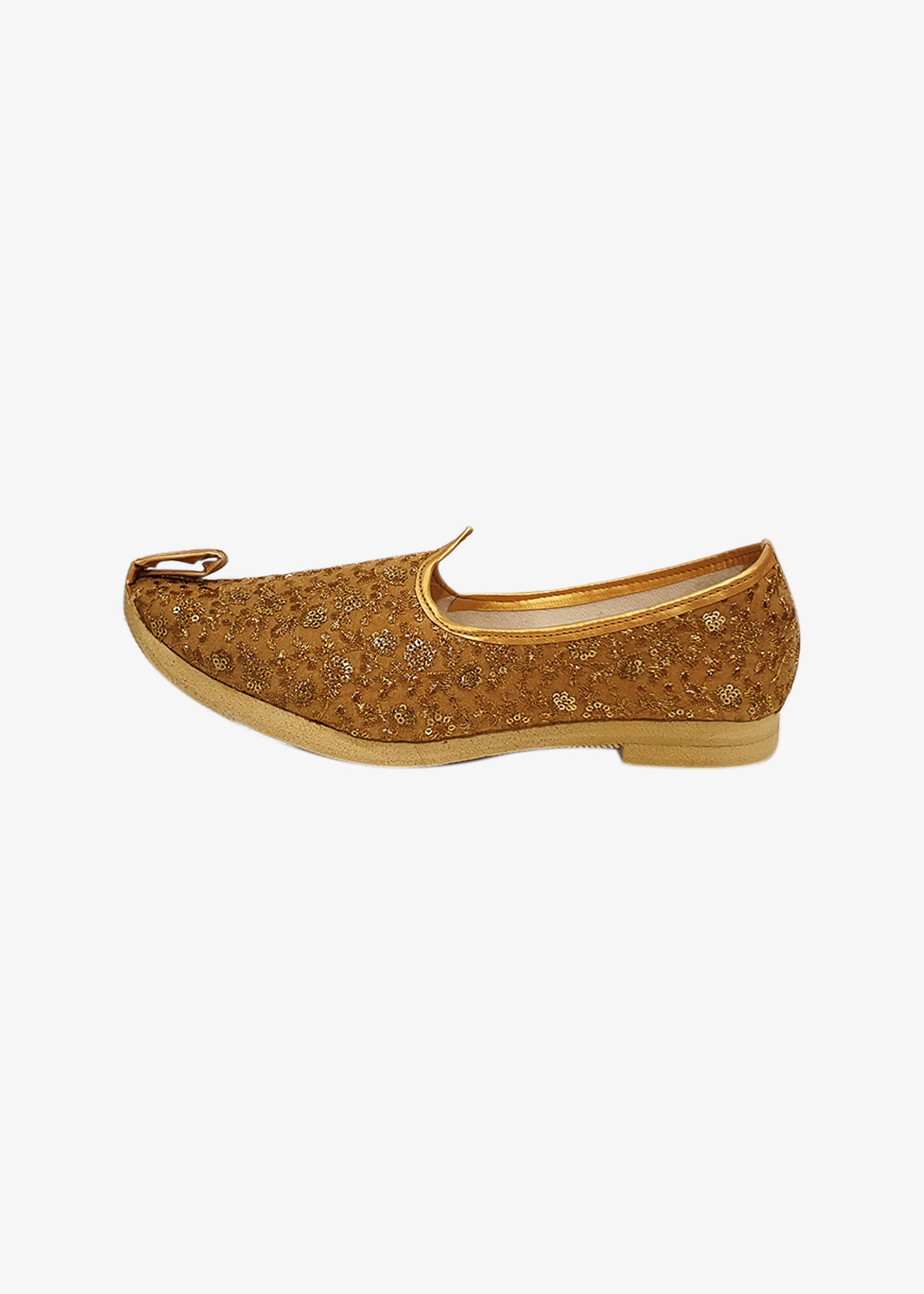 Gold Velvet Embroidered Mens Mojdi