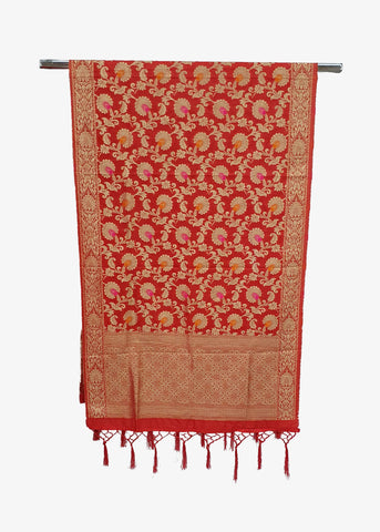 Red Flower Brocade Silk Dupatta