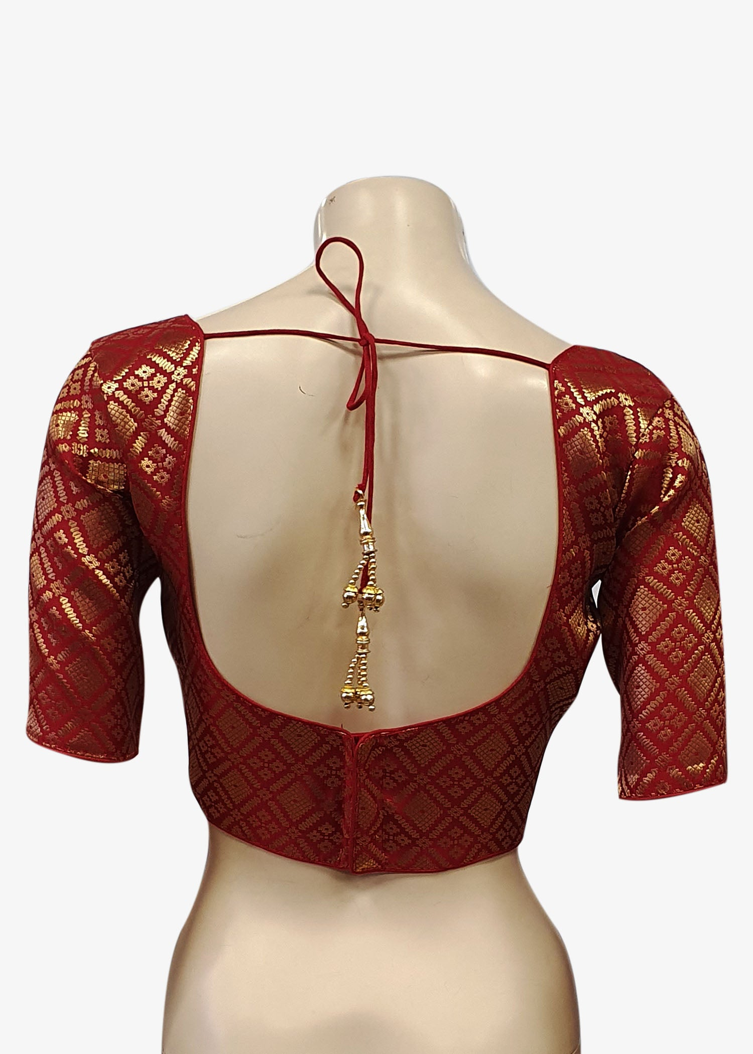 Maroon Brocade Silk Saree Blouse