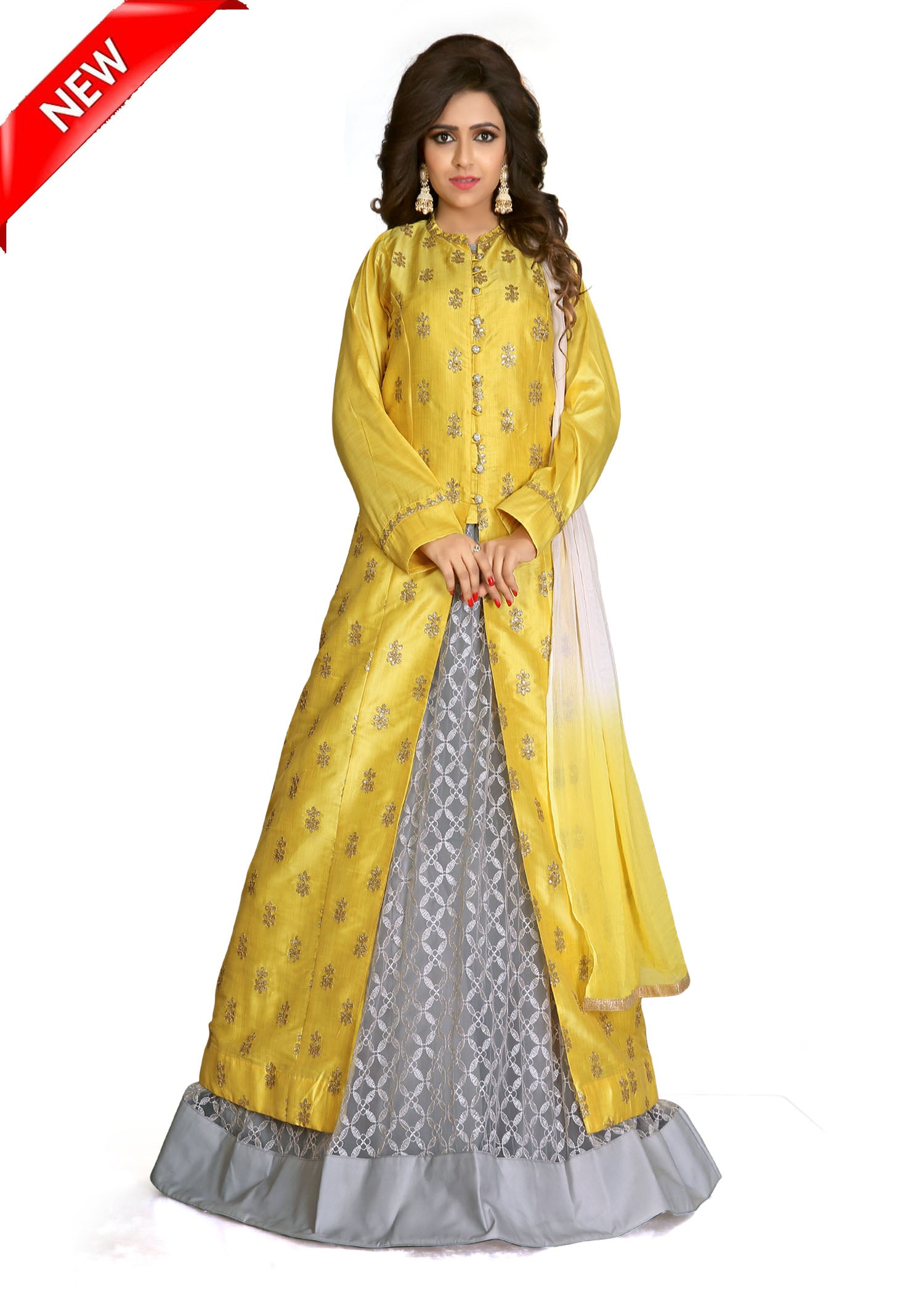 Lacha-Skirt suit with contrast embroidery-Lemon-Grey