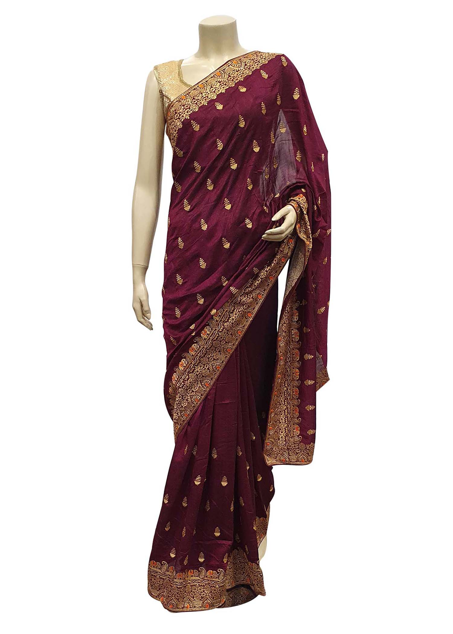 Magenta Art Silk Saree With Gold Resham Thread Embroidery