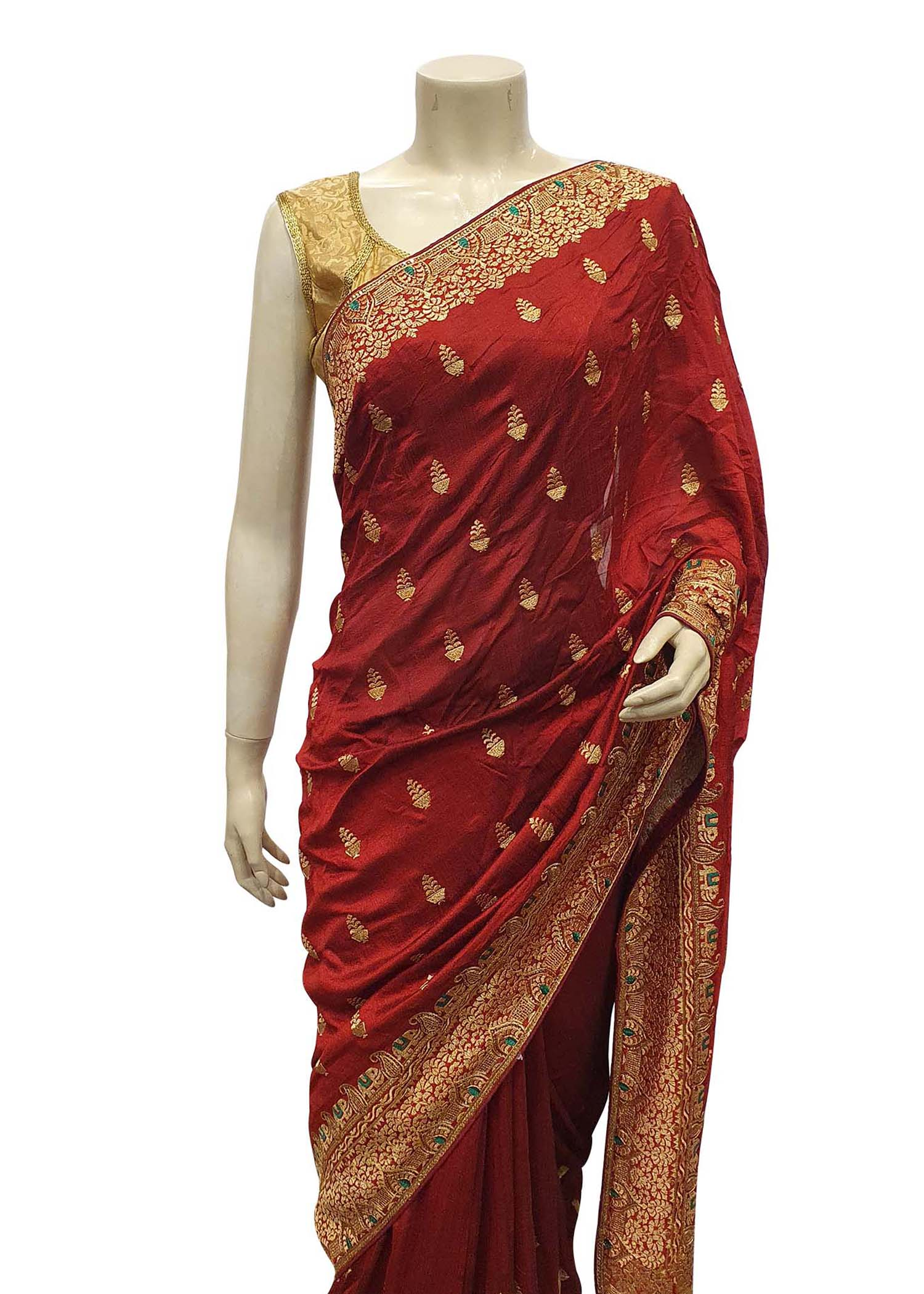 Red Art Silk Saree With Gold Resham Thread Embroidery
