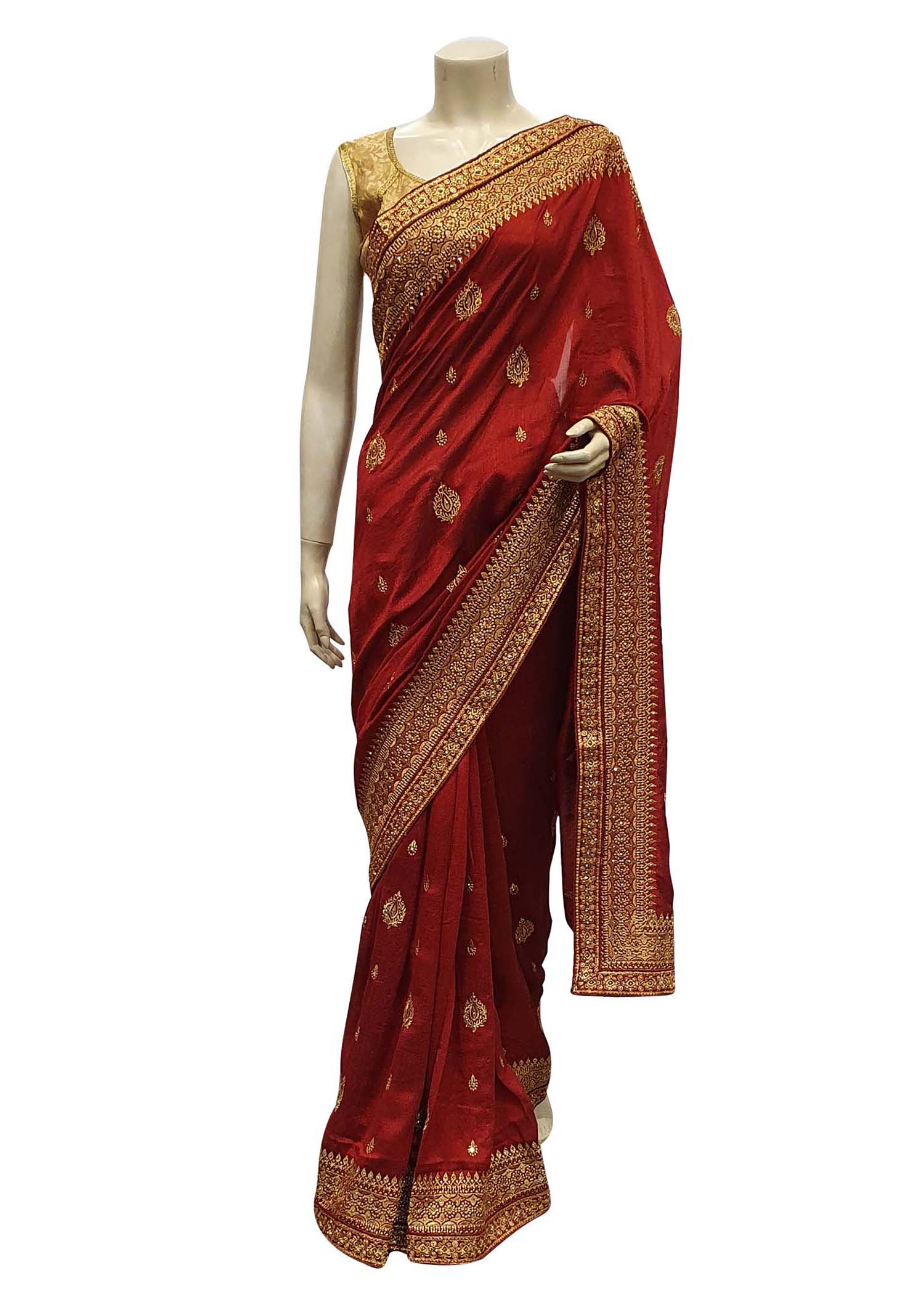 Maroon Art Silk Saree With Gold Resham Thread Embroidery