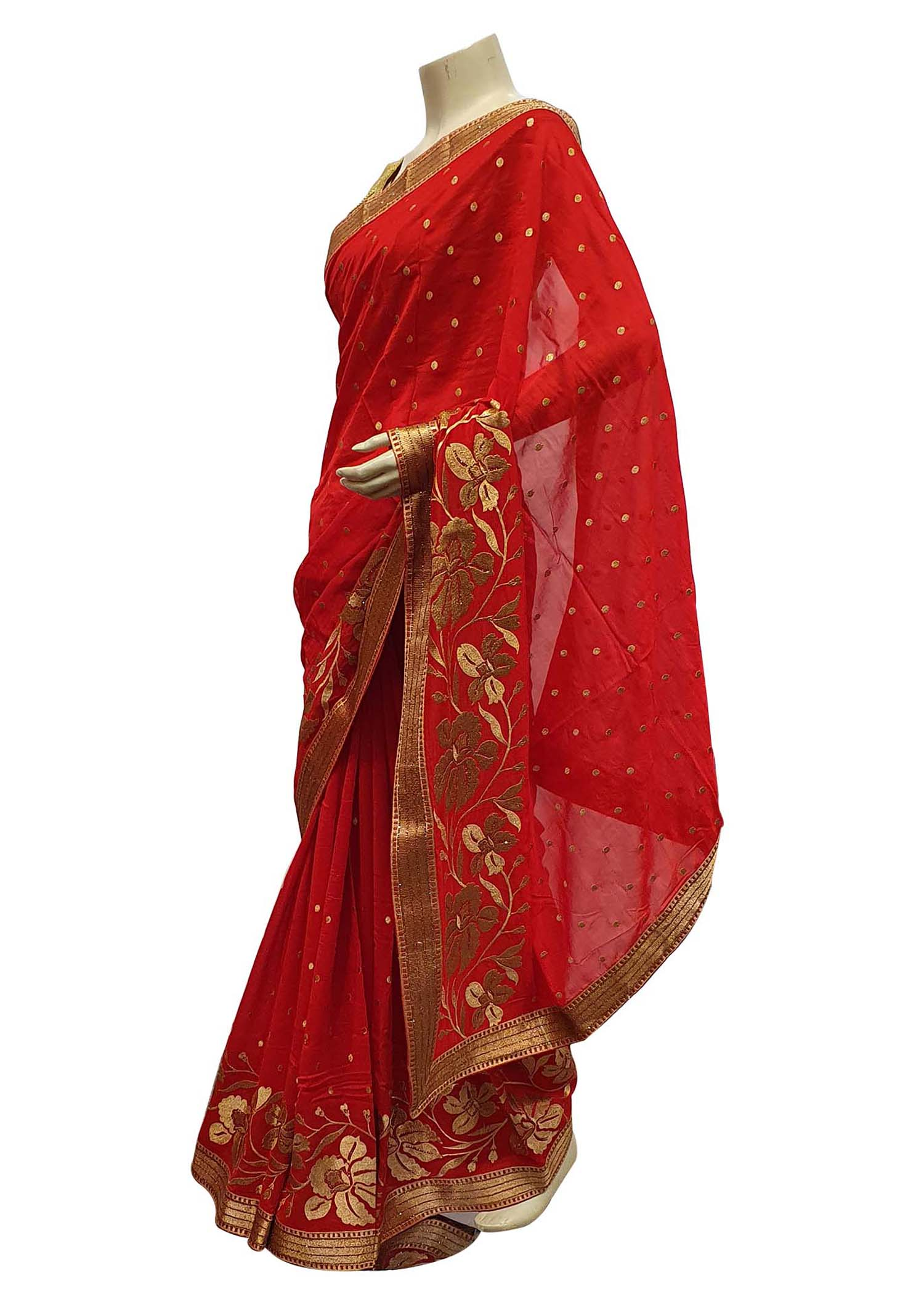 Red Georgette Saree With Gold Zari Flower Embroidered Border And Gold Sequin Butties All Over