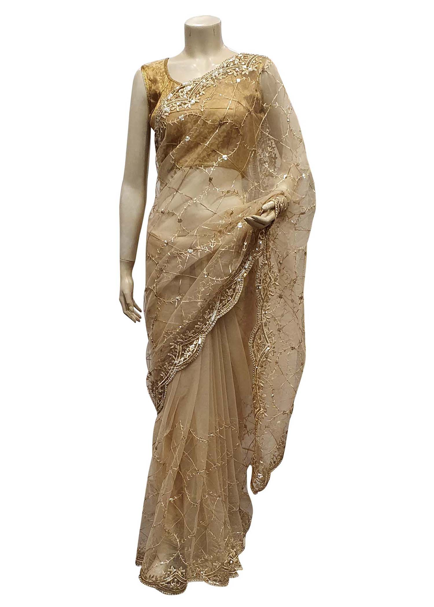 Gold Saree In Net With Stone And Sequin Embellished Checks Design
