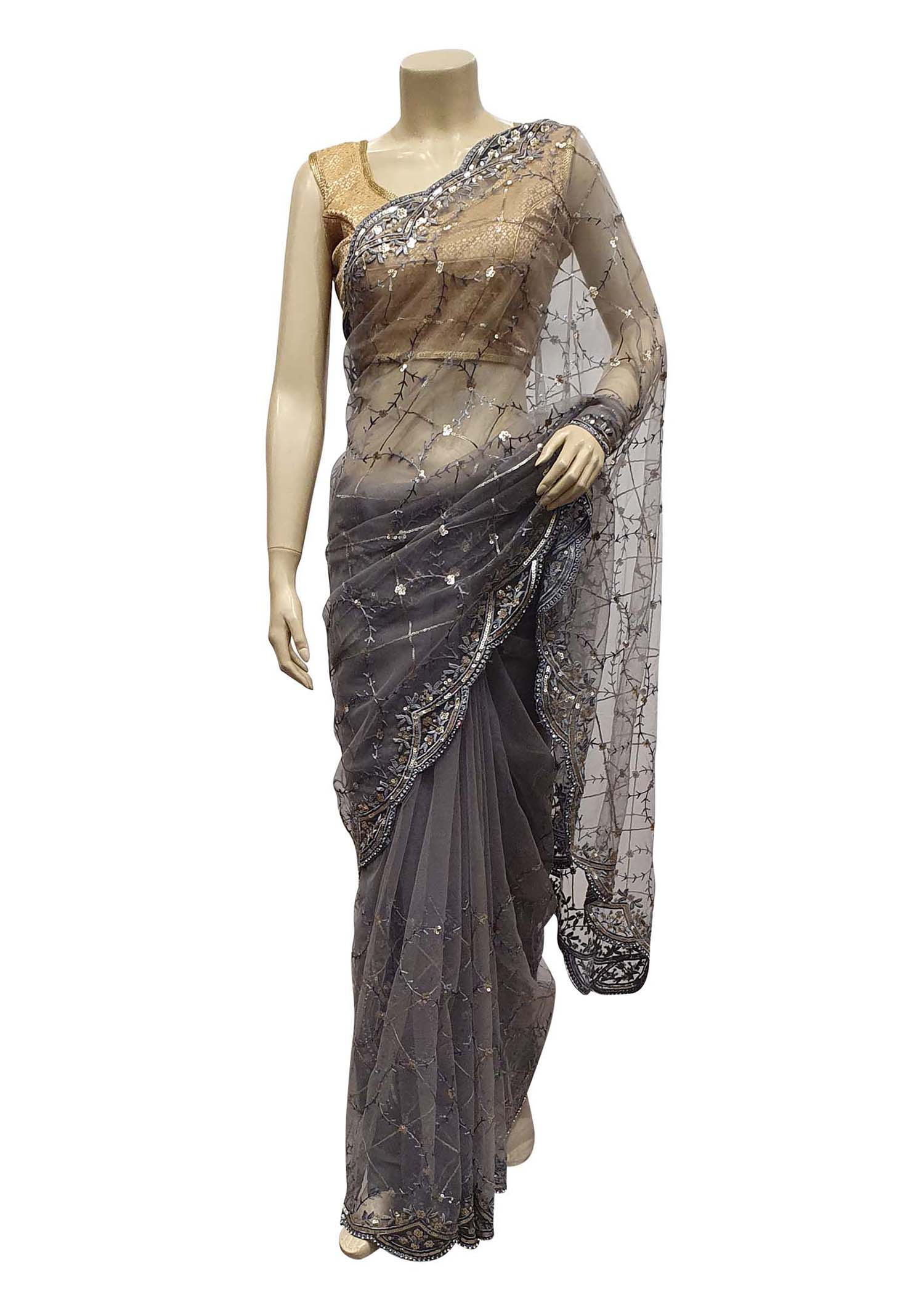 Grey Saree In Net With Stone And Sequin Embellished Checks Design