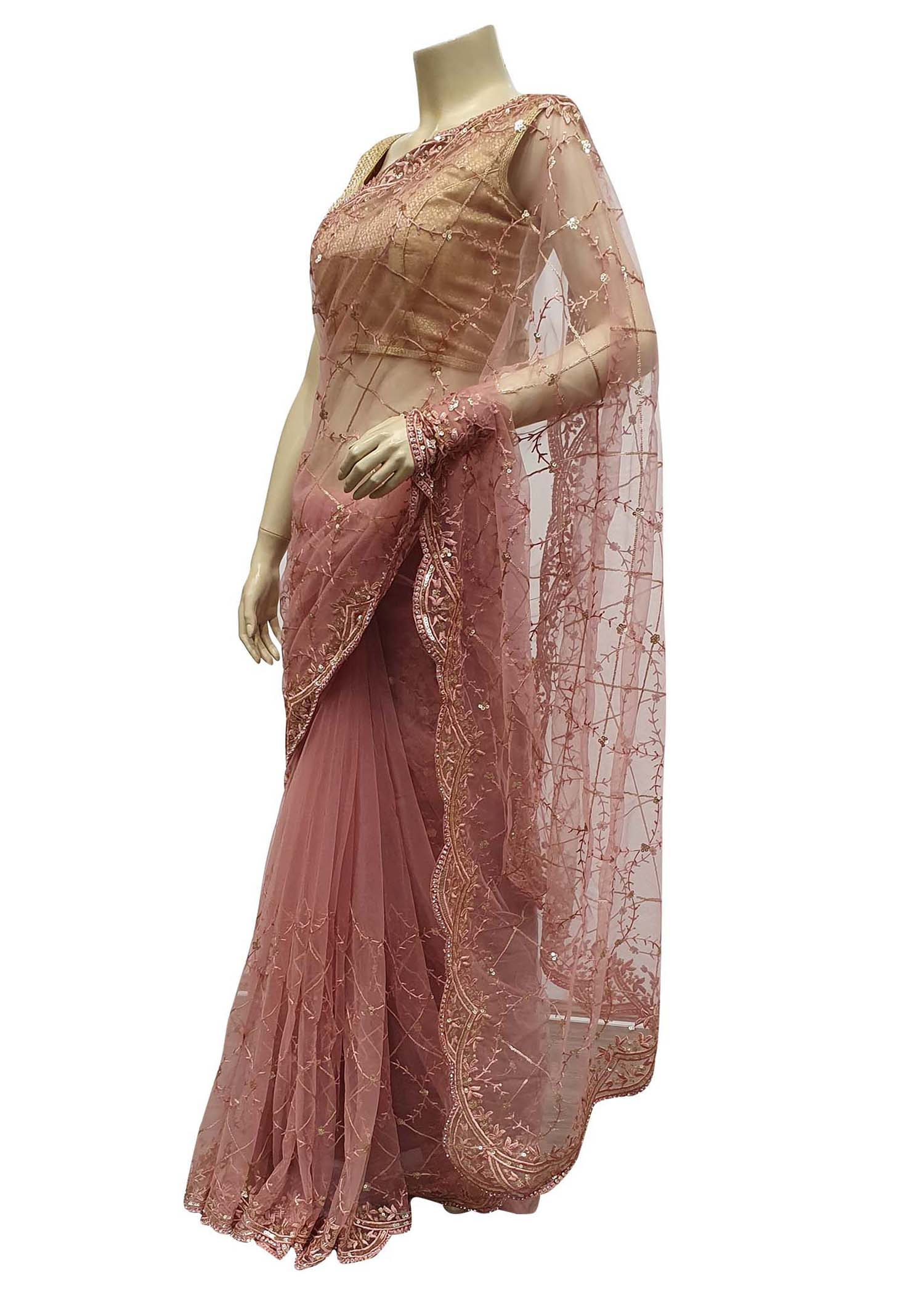 Pink Saree In Net With Stone And Sequin Embellished Checks Design