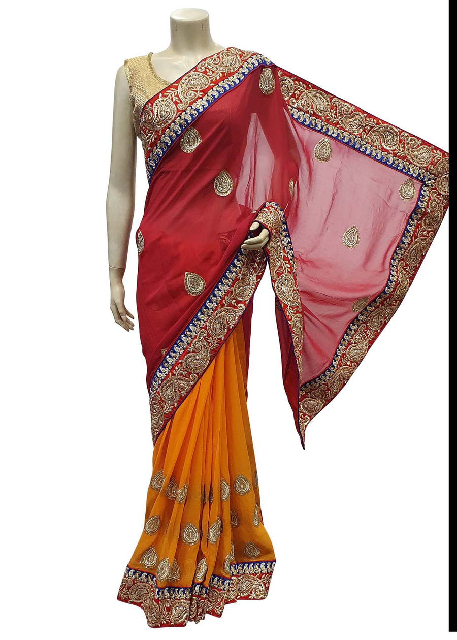 Red And Orange Georgette Half-Half Saree With Heavy Zari Embroidered Border