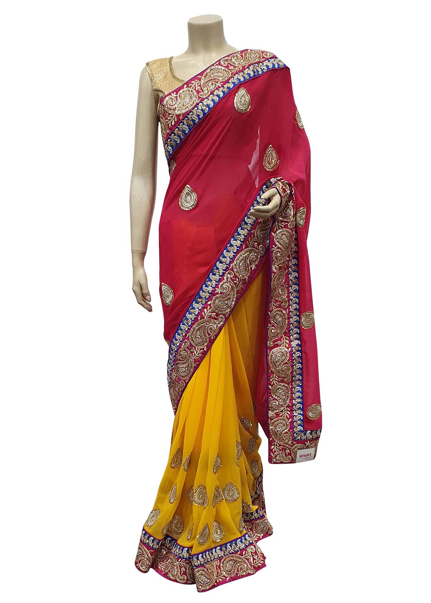 Pink And Yellow Georgette Half-Half Saree With Heavy Zari Embroidered Border