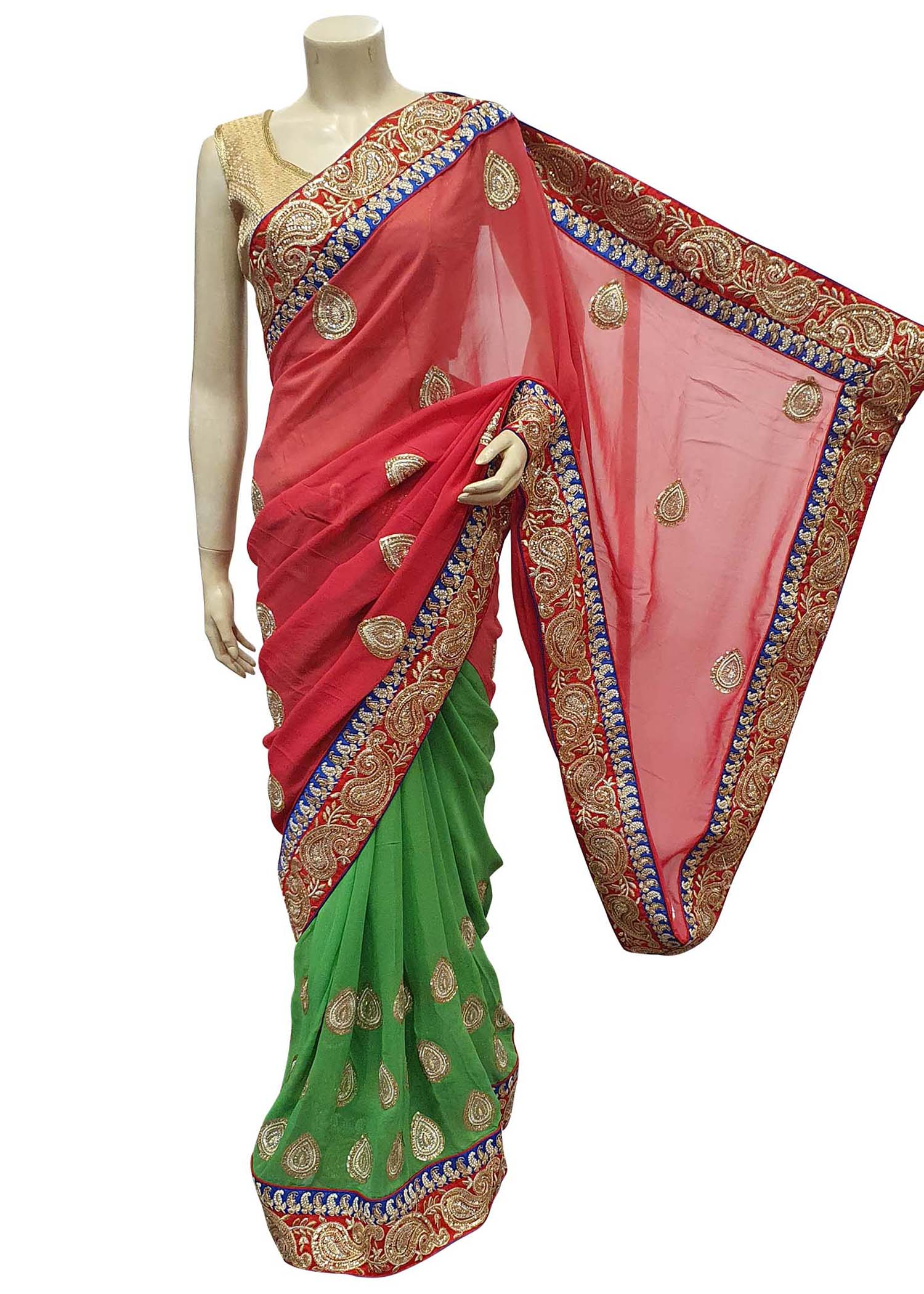 Coral And Green Georgette Half-Half Saree With Heavy Zari Embroidered Border