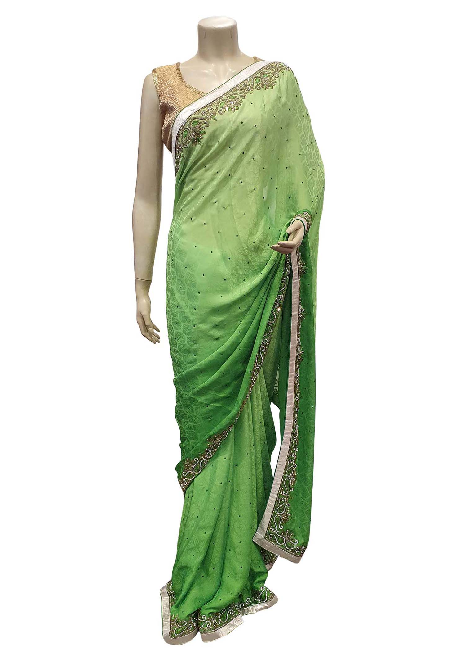 Green Banarsai Silk Saree With diamante Embroidered Border