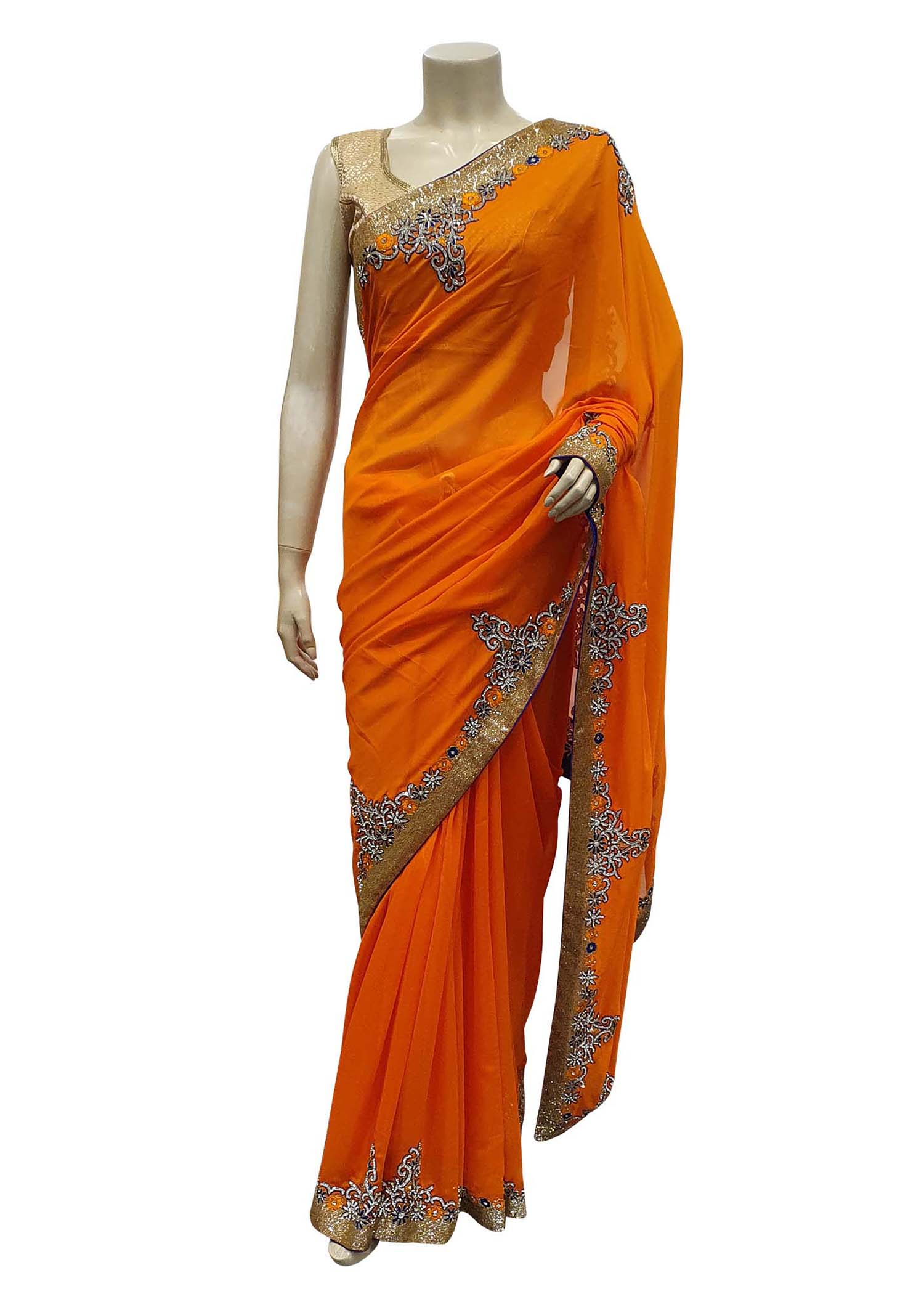 Orange Georgette Saree With diamante Embroidered Border