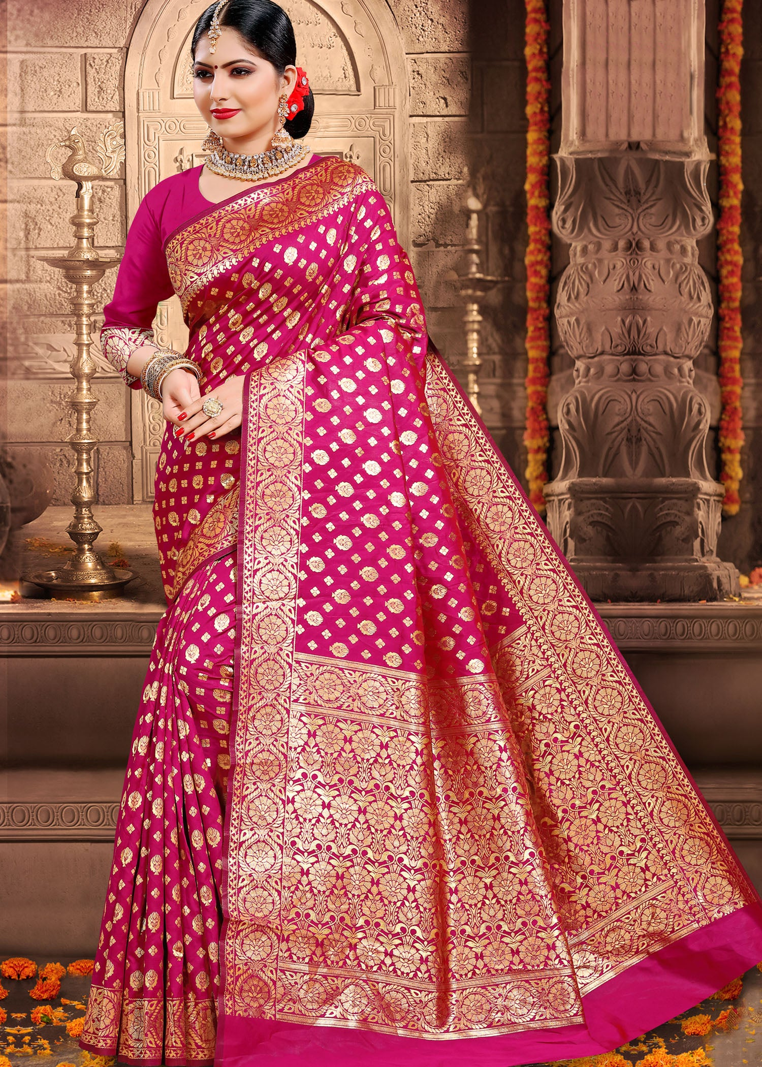 Magenta Banarsi Silk Saree with Ready Made Blouse