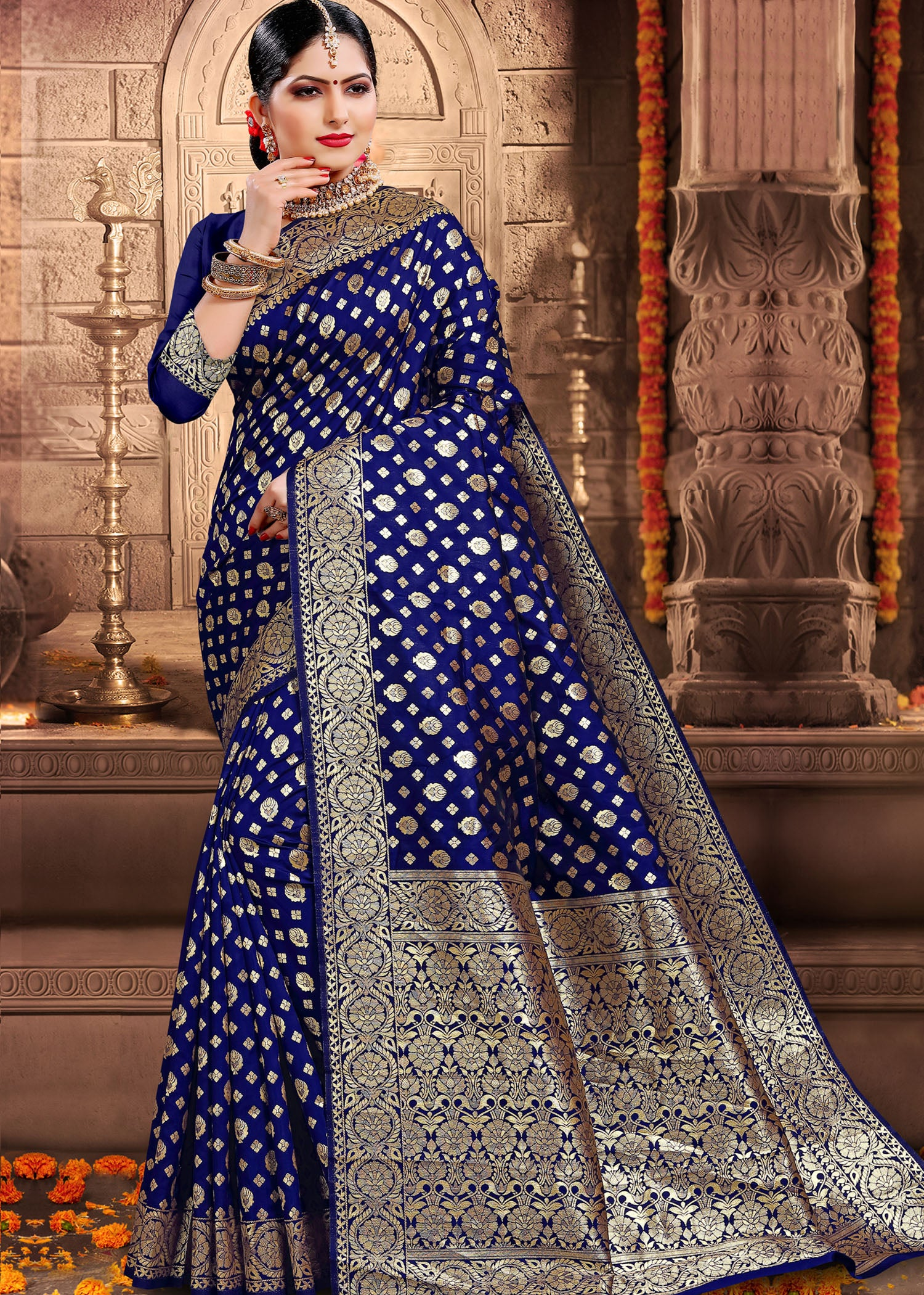 Royal Blue Banarsi Silk Saree with Ready Made Blouse