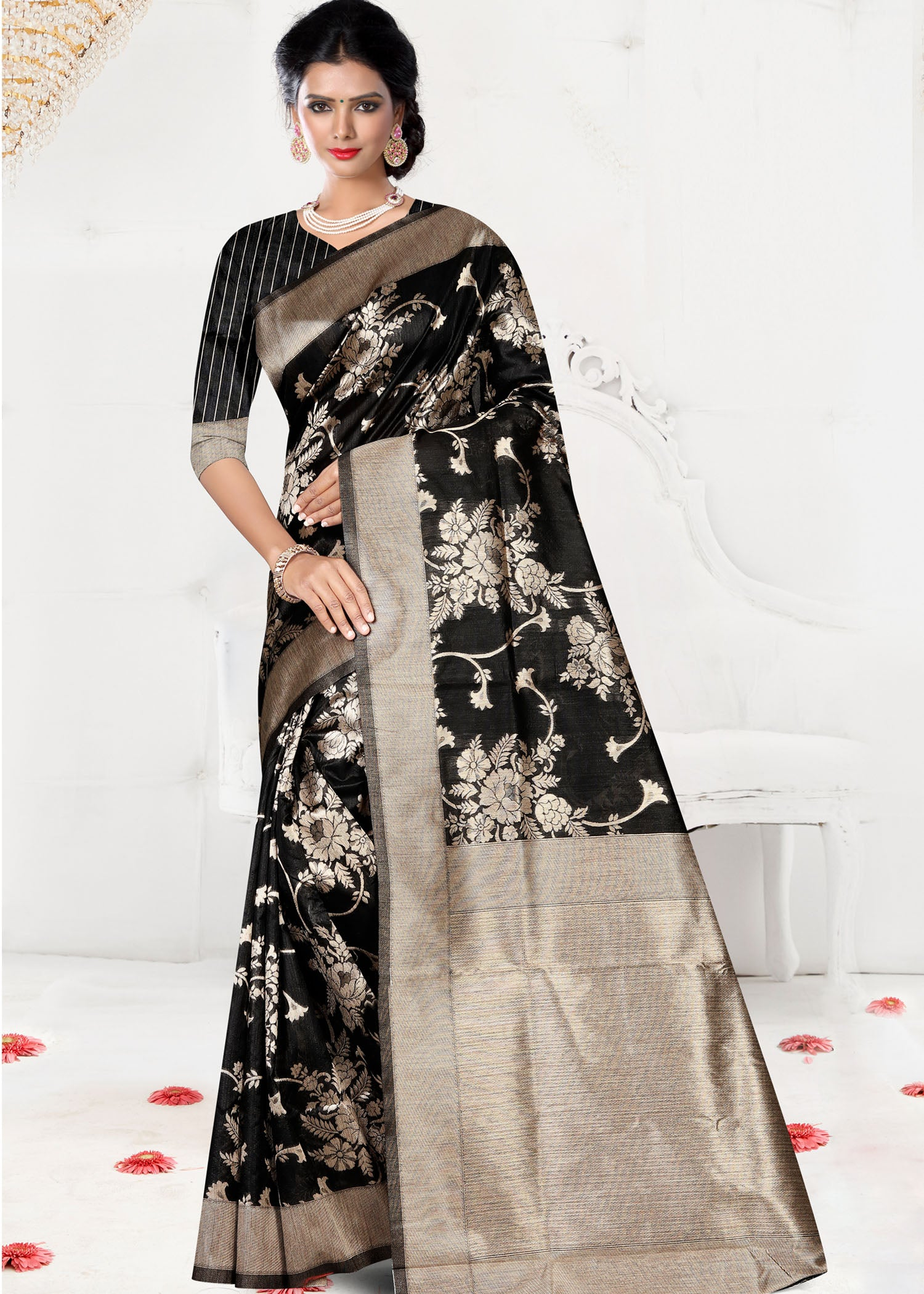 Black Chanderi Silk Saree with Ready Made Blouse