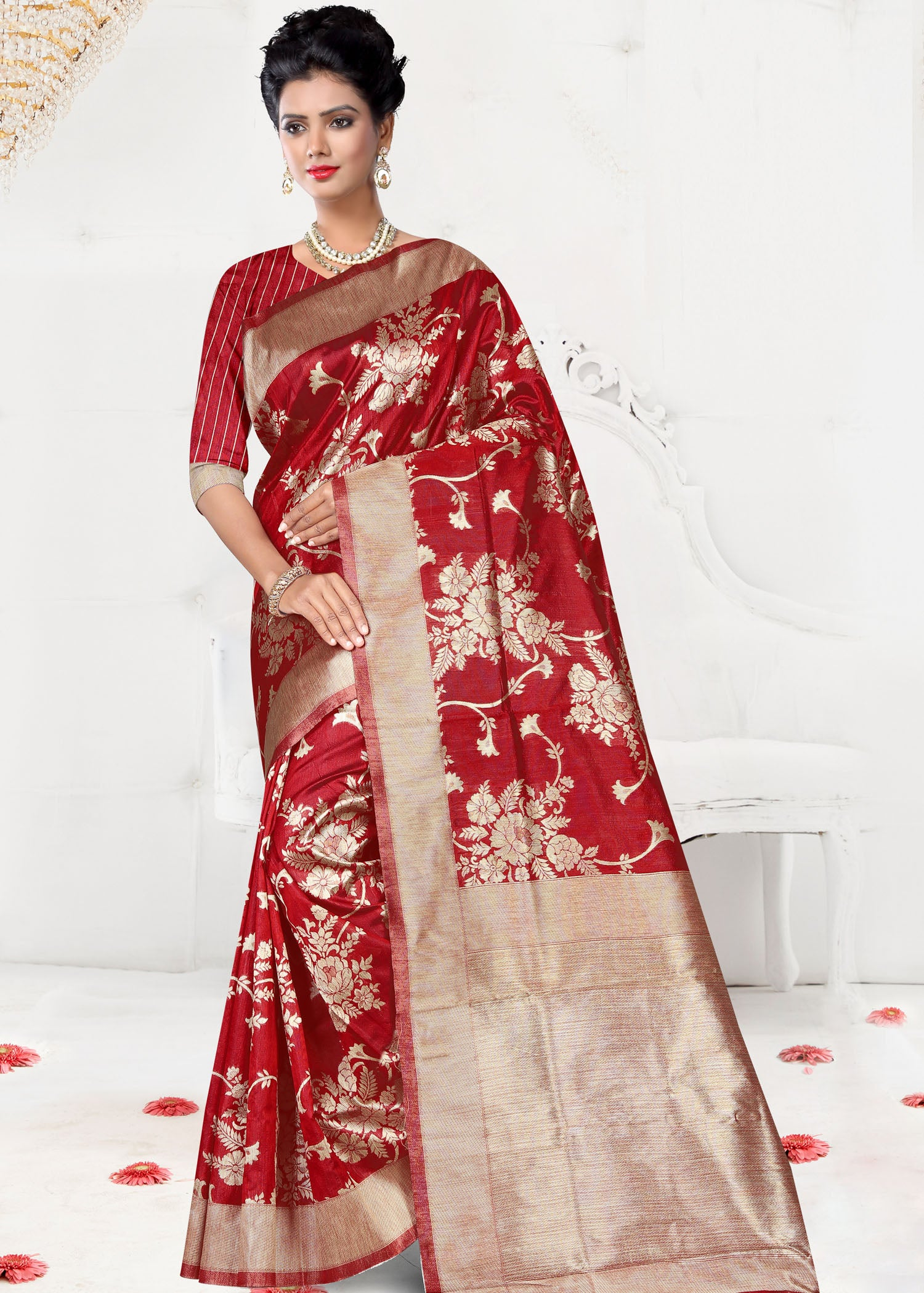 Red Chanderi Silk Saree with Ready Made Blouse