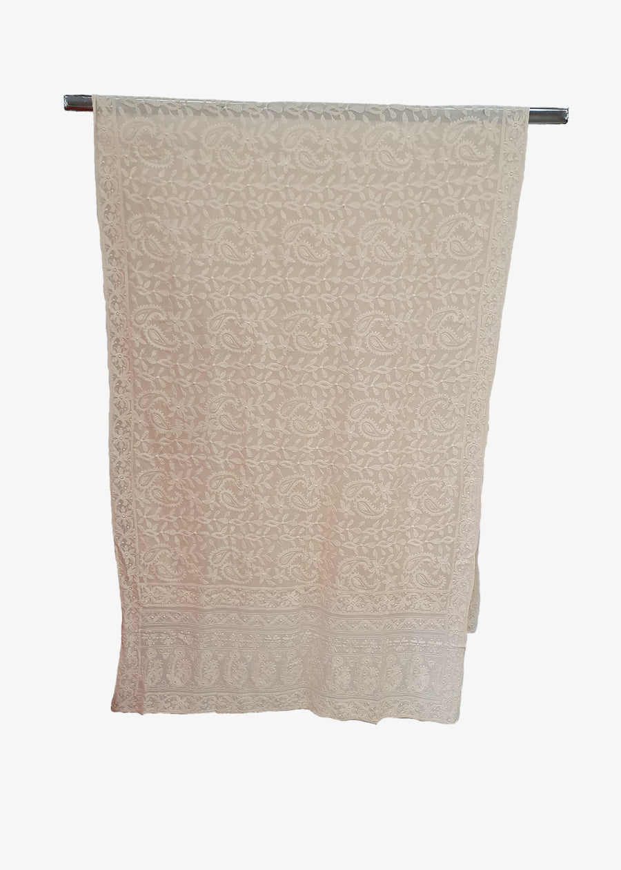 Mens Light Cream Lucknowi Shawl