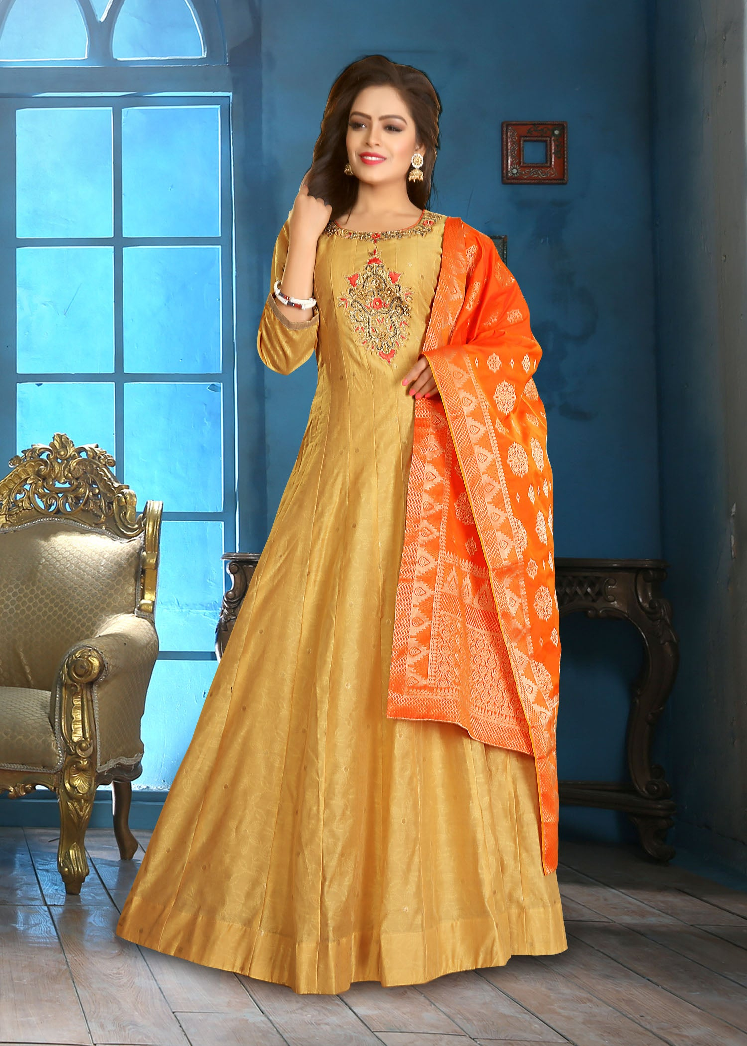 Kohra Silk flared suit-Mustard