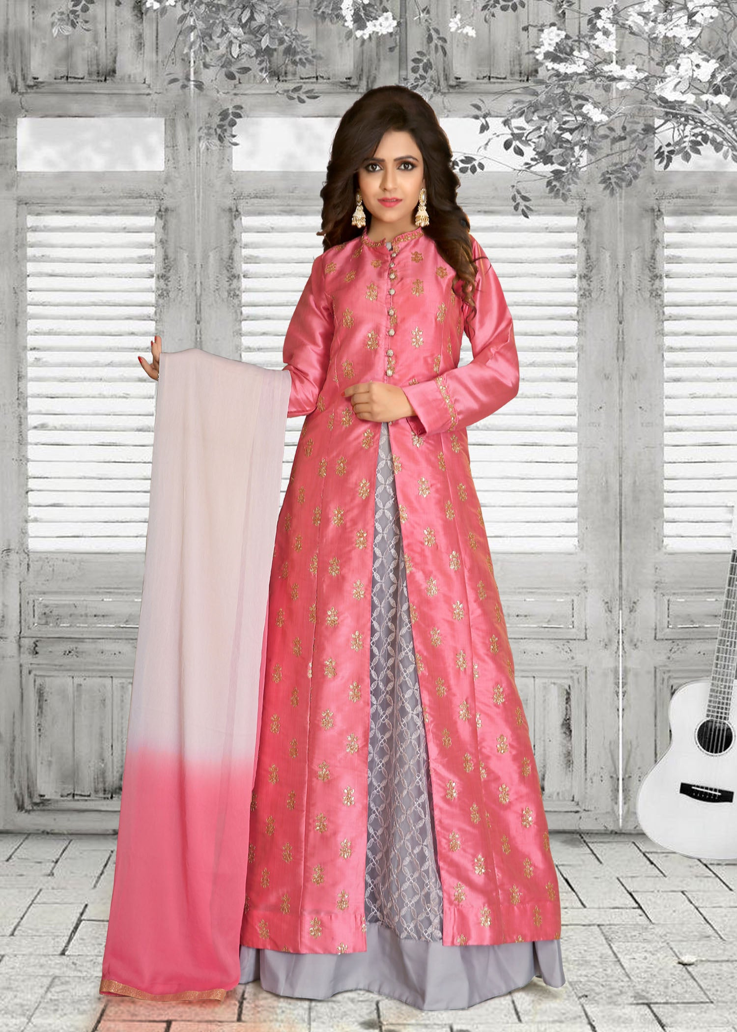 Lacha-Skirt suit with contrast embroidery-Dusty Pink