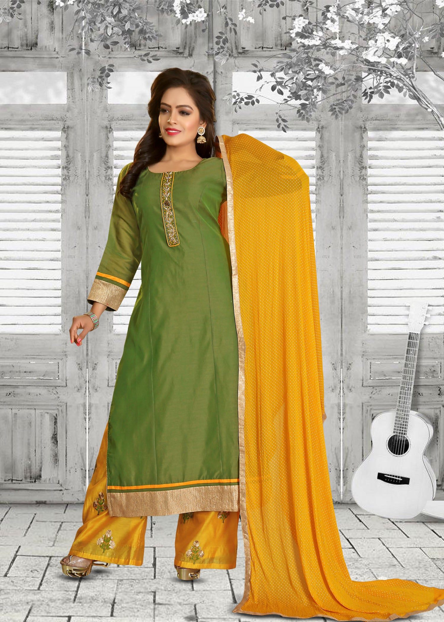 Palazzo Suit with resham hand embroidery/Green