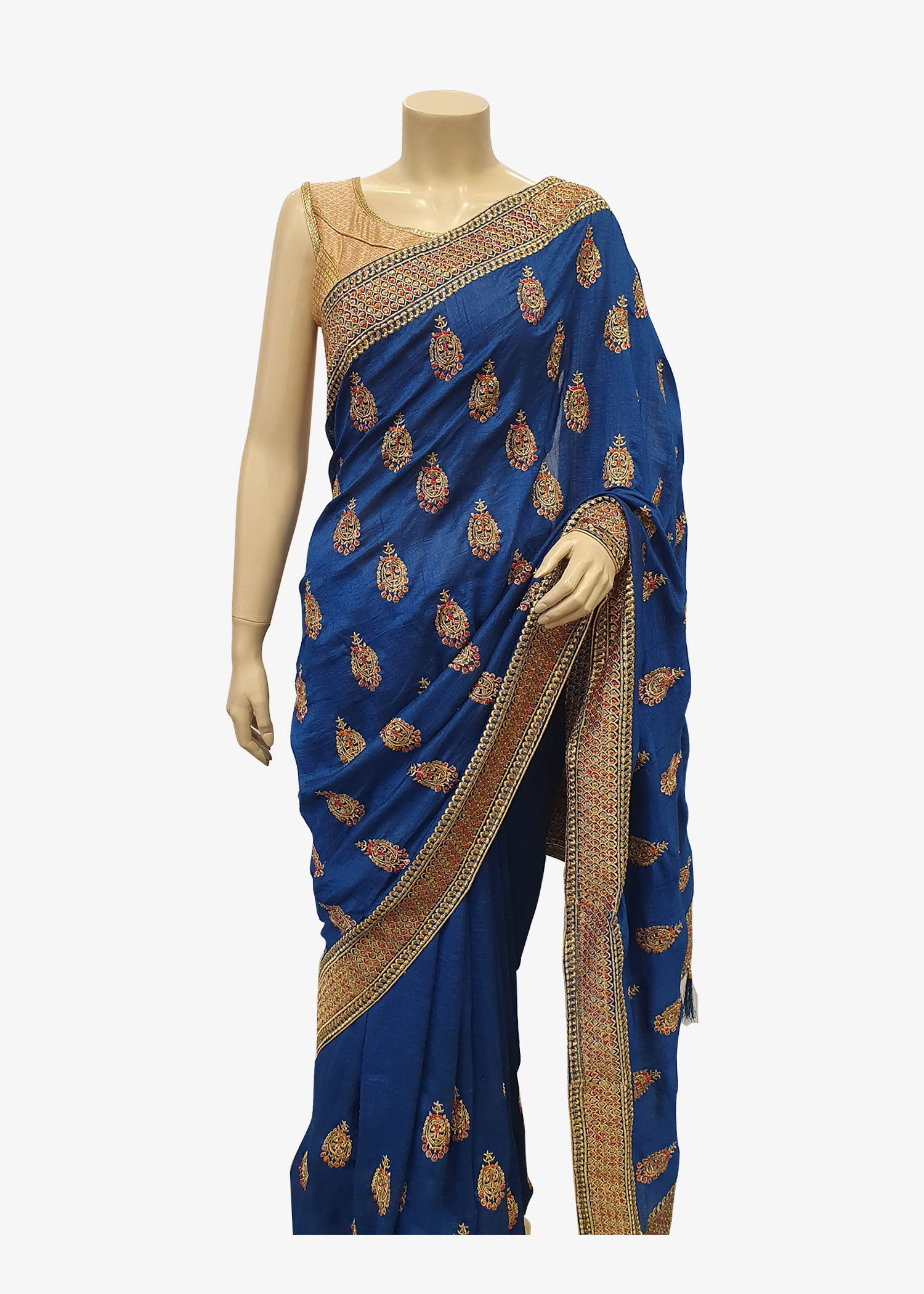 Teal Blue Art Silk Saree With Gold Resham Work All Over