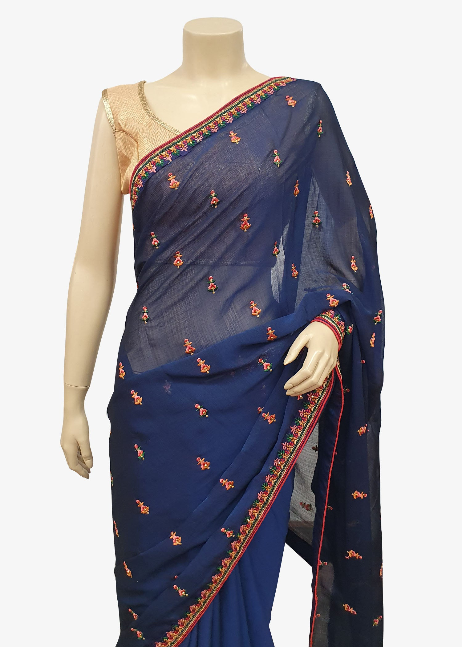Navy Blue Georgette Saree With Resham Thread Work Border