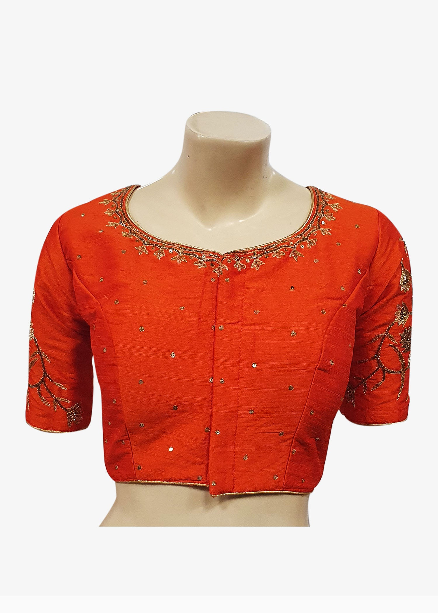 Orange Raw Silk Gold Embroidered Saree Blouse - Front Hooks