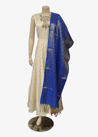 Royal Blue Brocade Silk Dupatta