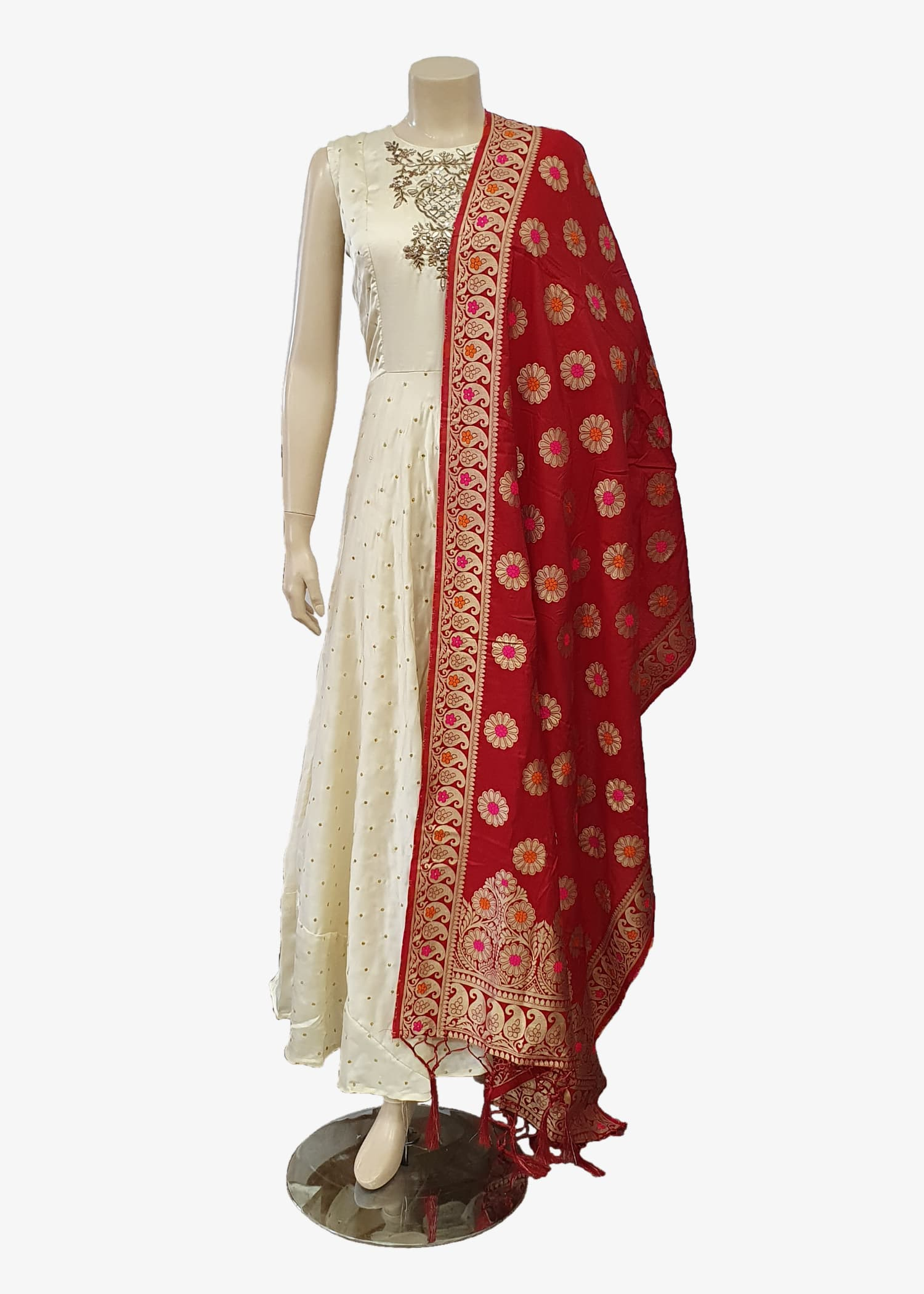 Red Floral Brocade Silk Dupatta