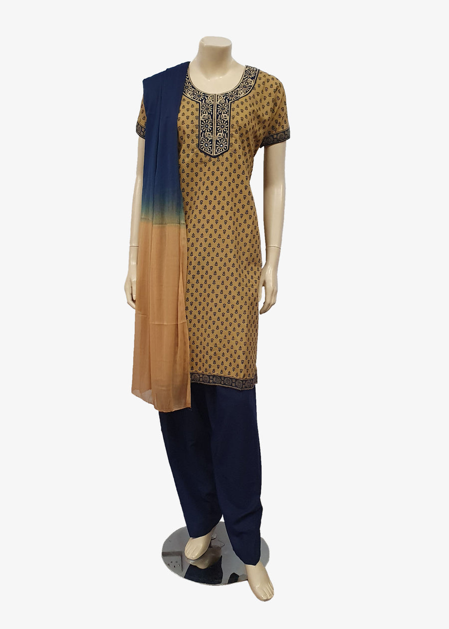 Navy Blue-Beige 4 Piece Salwar Suit