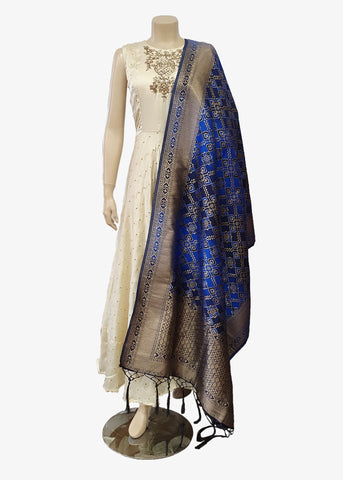 Shaded Blue Brocade Silk Dupatta