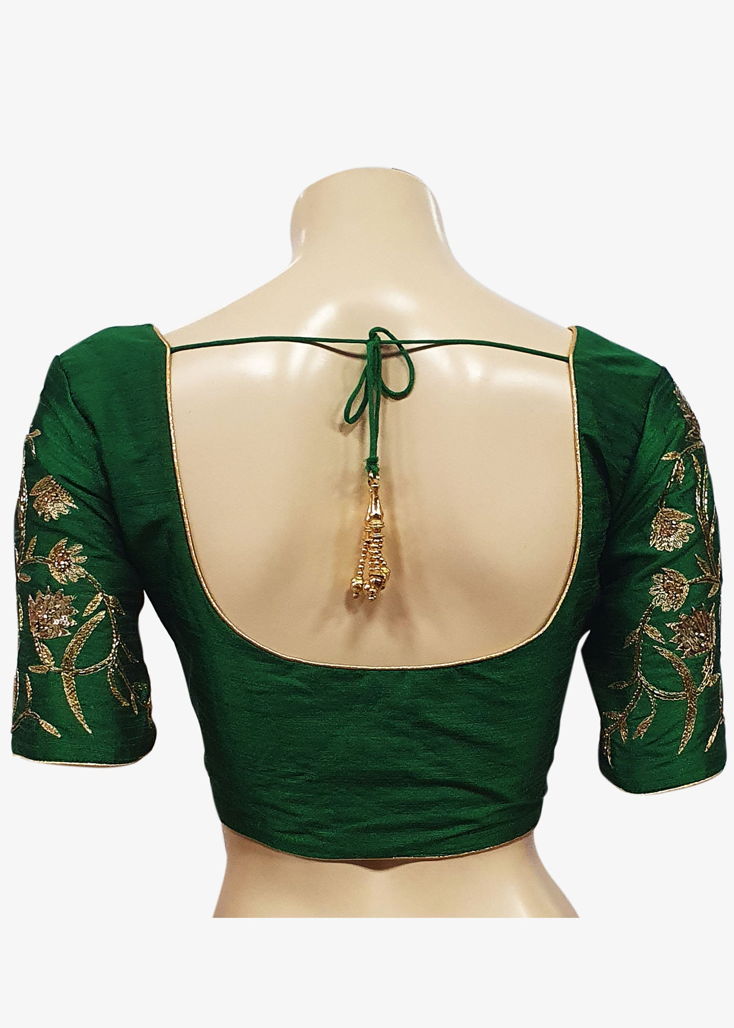 Bottle Green Raw Silk Gold Embroidered Saree Blouse - Front Hooks