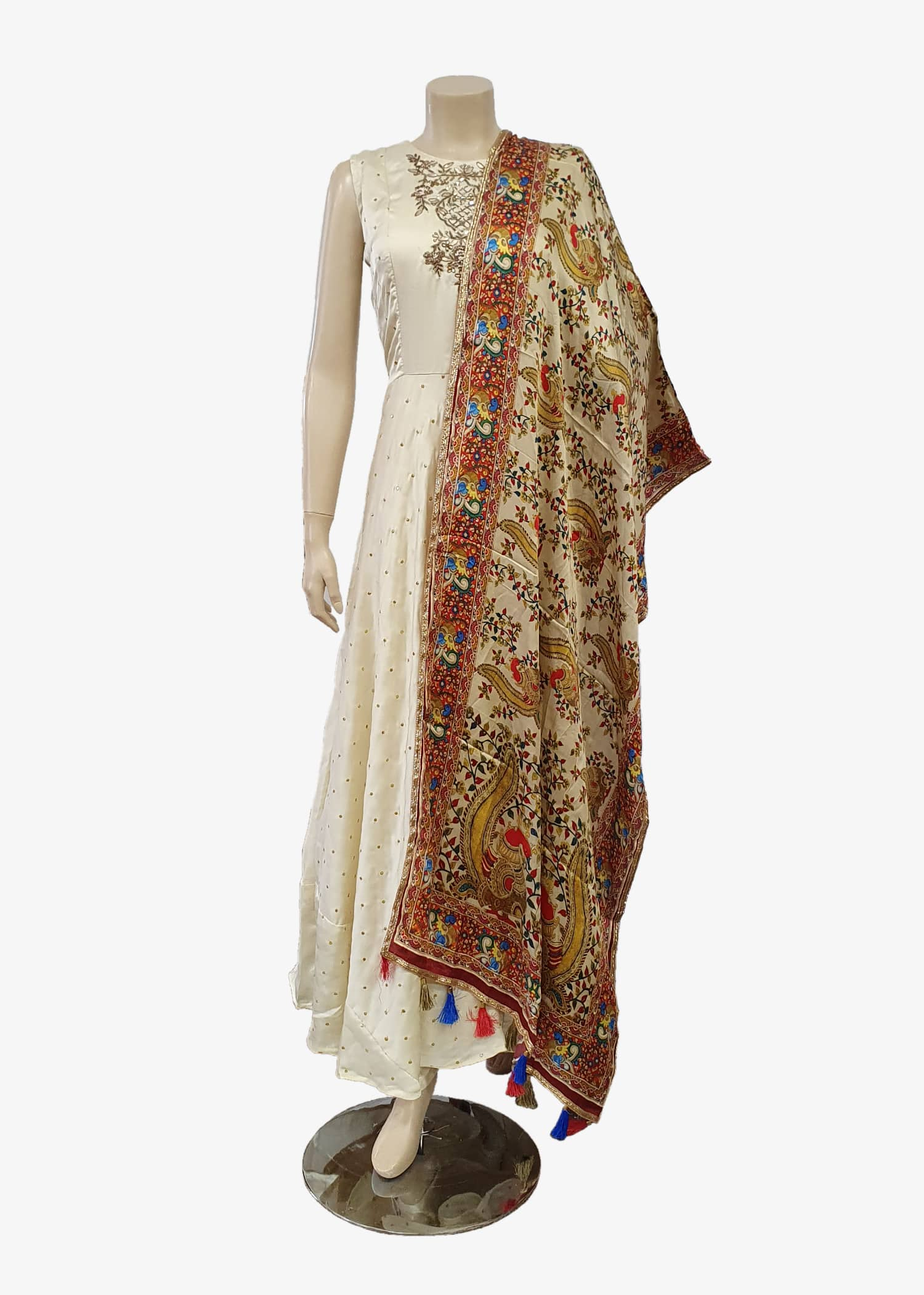 Cream Digital Print Dupatta