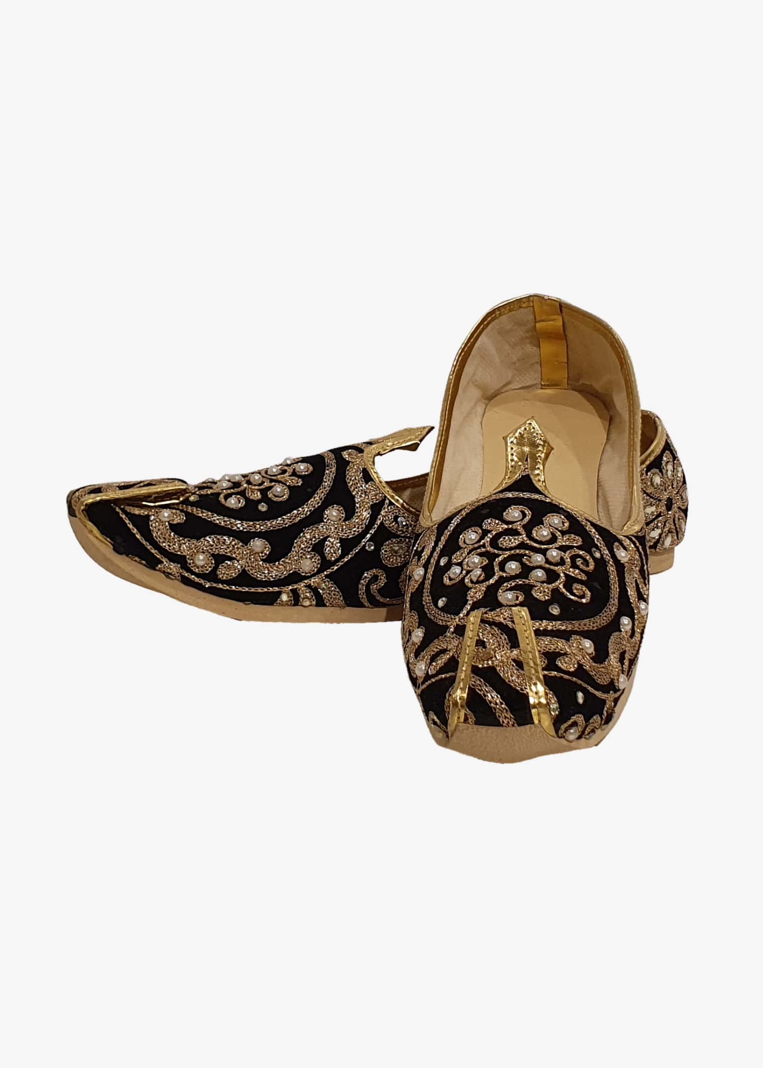 Black Velvet Embroidered Mens Mojdi
