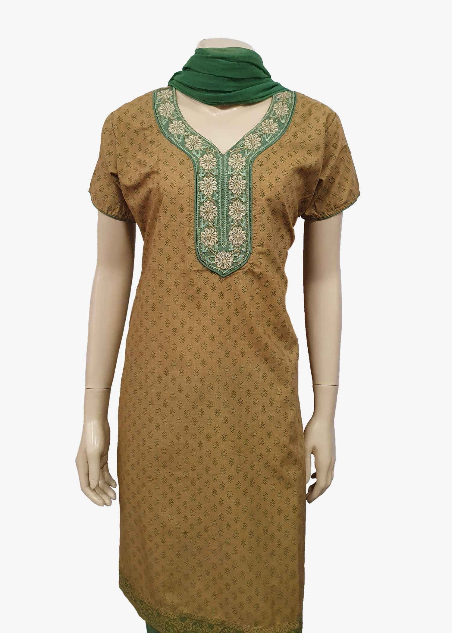 Green-Beige 4 Piece Salwar Suit