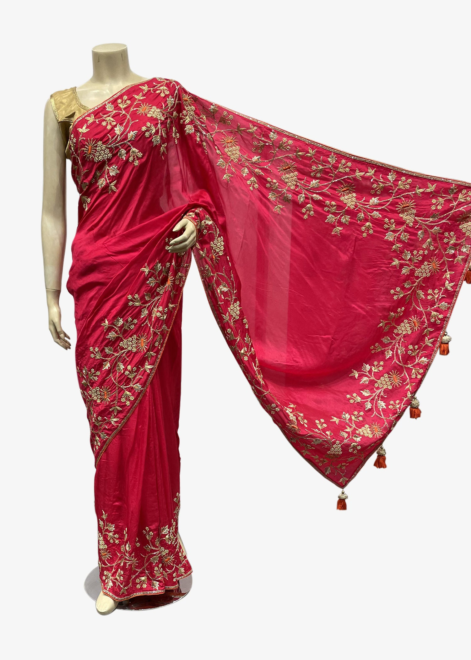 Pink Silk Saree With Resham Thread And Gold Zardozi Embroidery