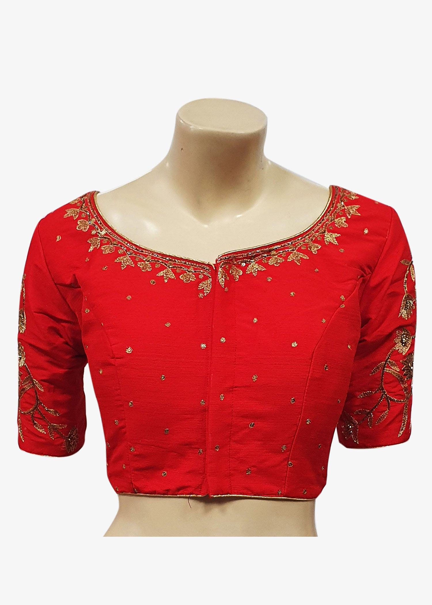 Red Raw Silk Gold Embroidered Saree Blouse - Front Hooks
