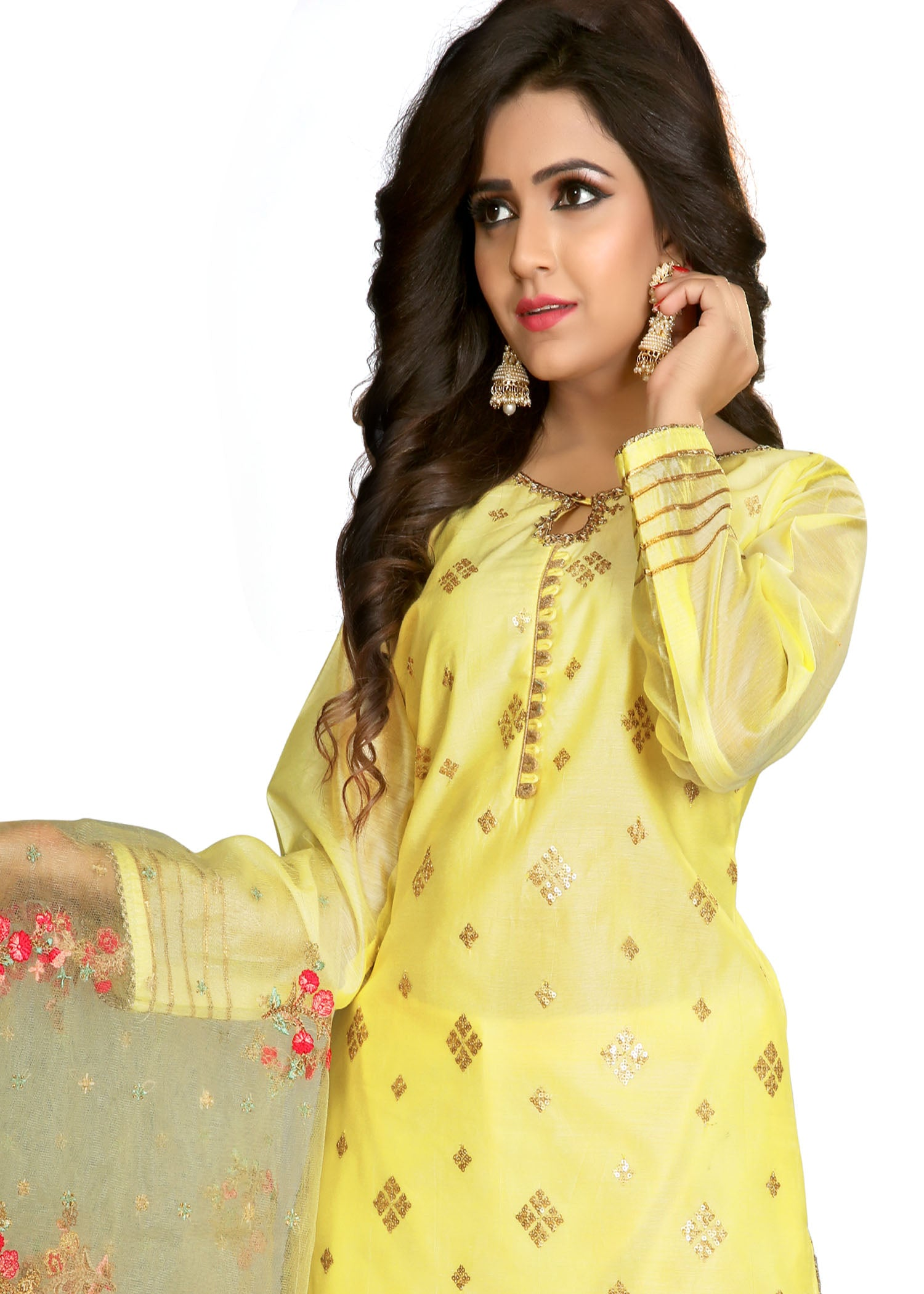 Palazzo Suit with gold hand embroidery-Lemon